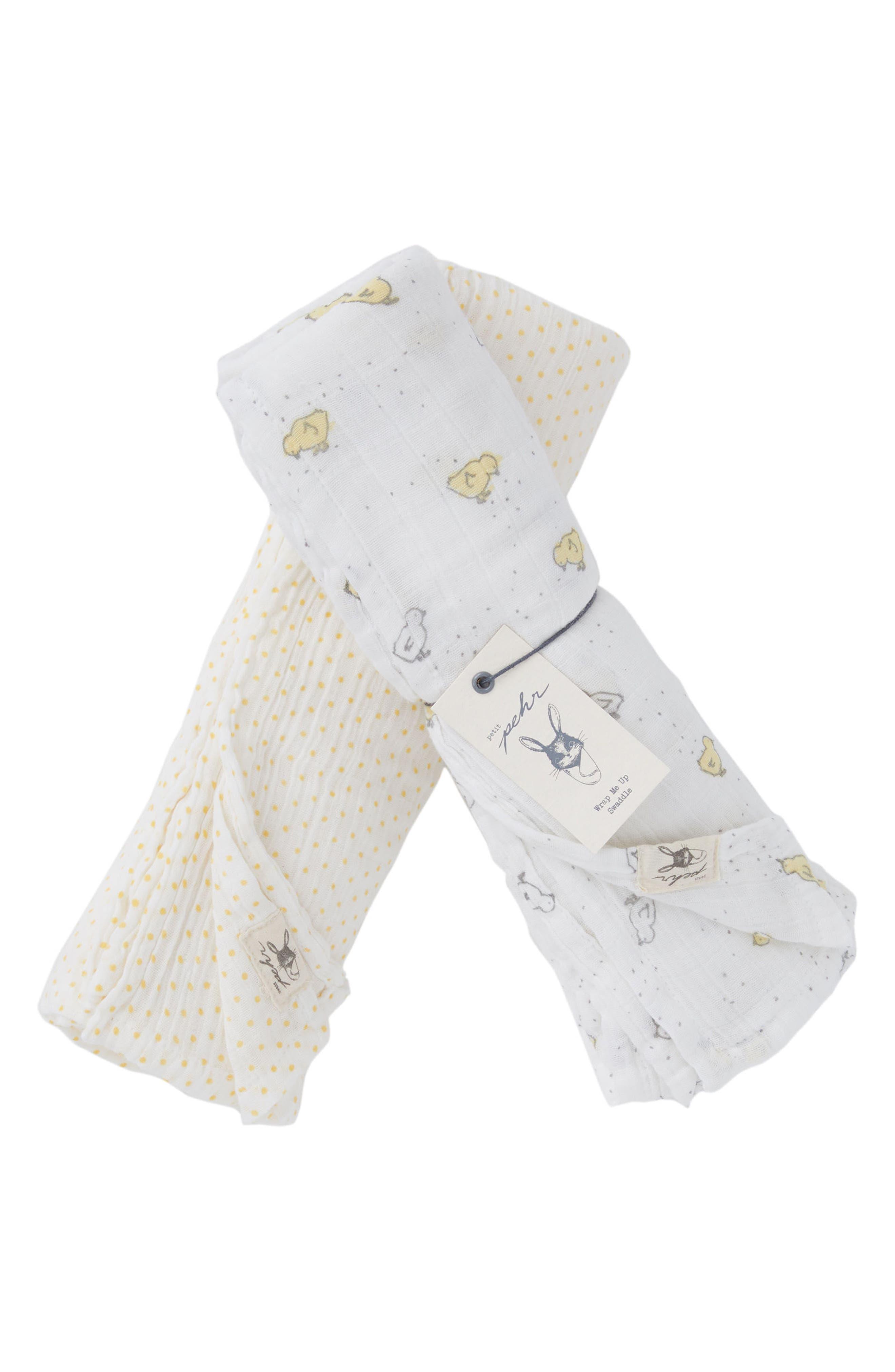 Chick Swaddle Blanket Set,                         Main,                         color, Cream