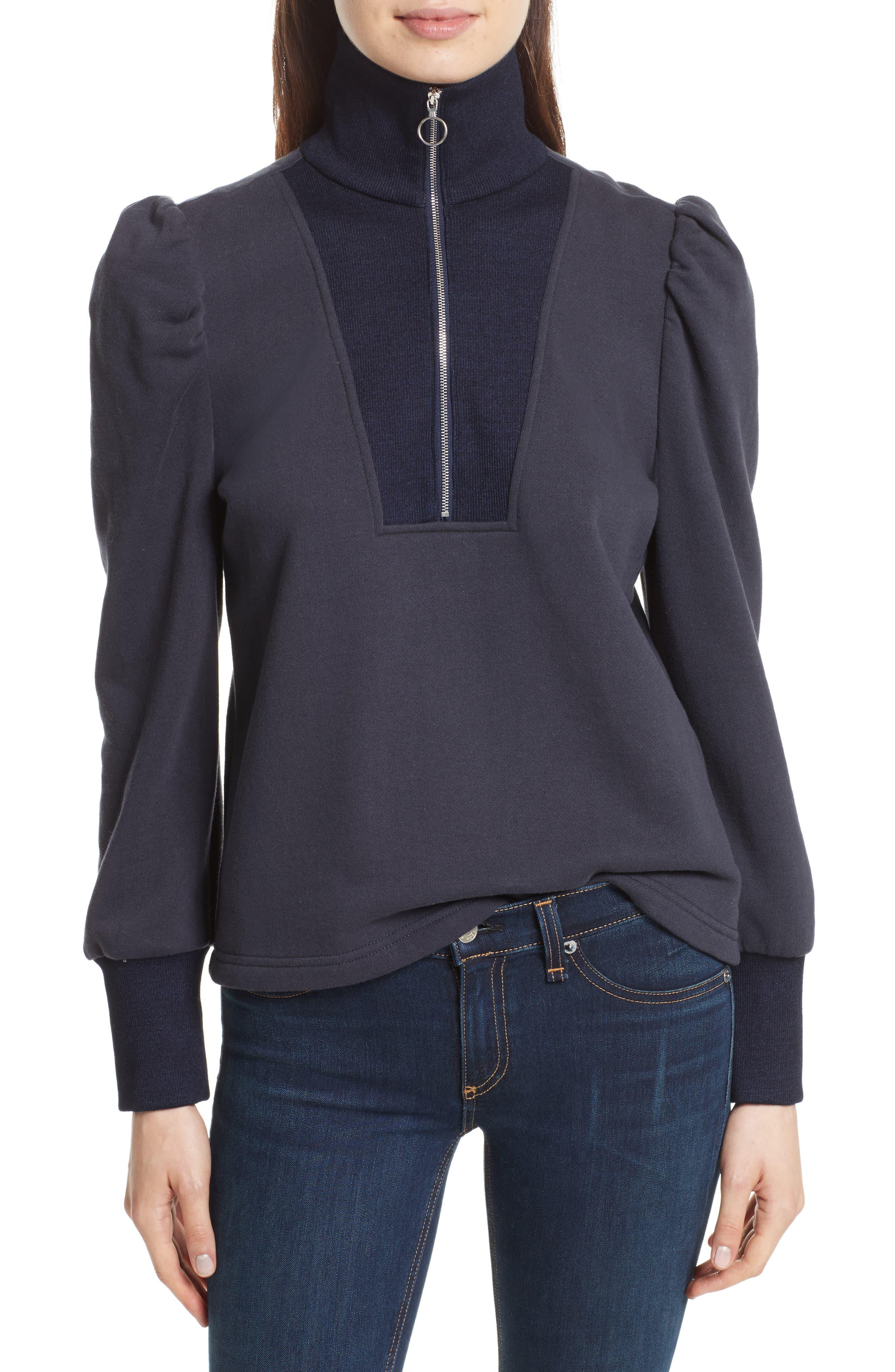 Main Image - Rebecca Taylor Turtleneck Fleece Zip Pullover