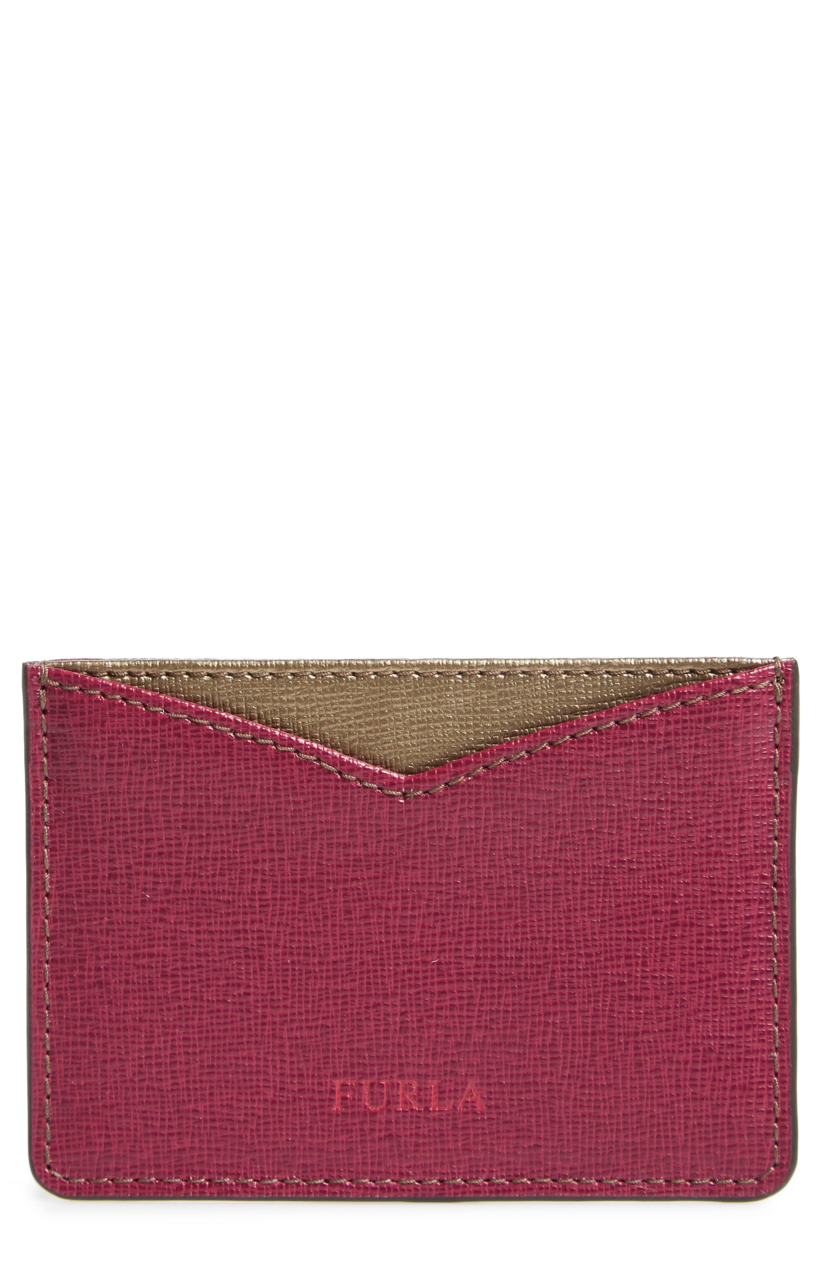 Gioia Saffiano Leather Card Case,                         Main,                         color, Amarena+Color Bronzo