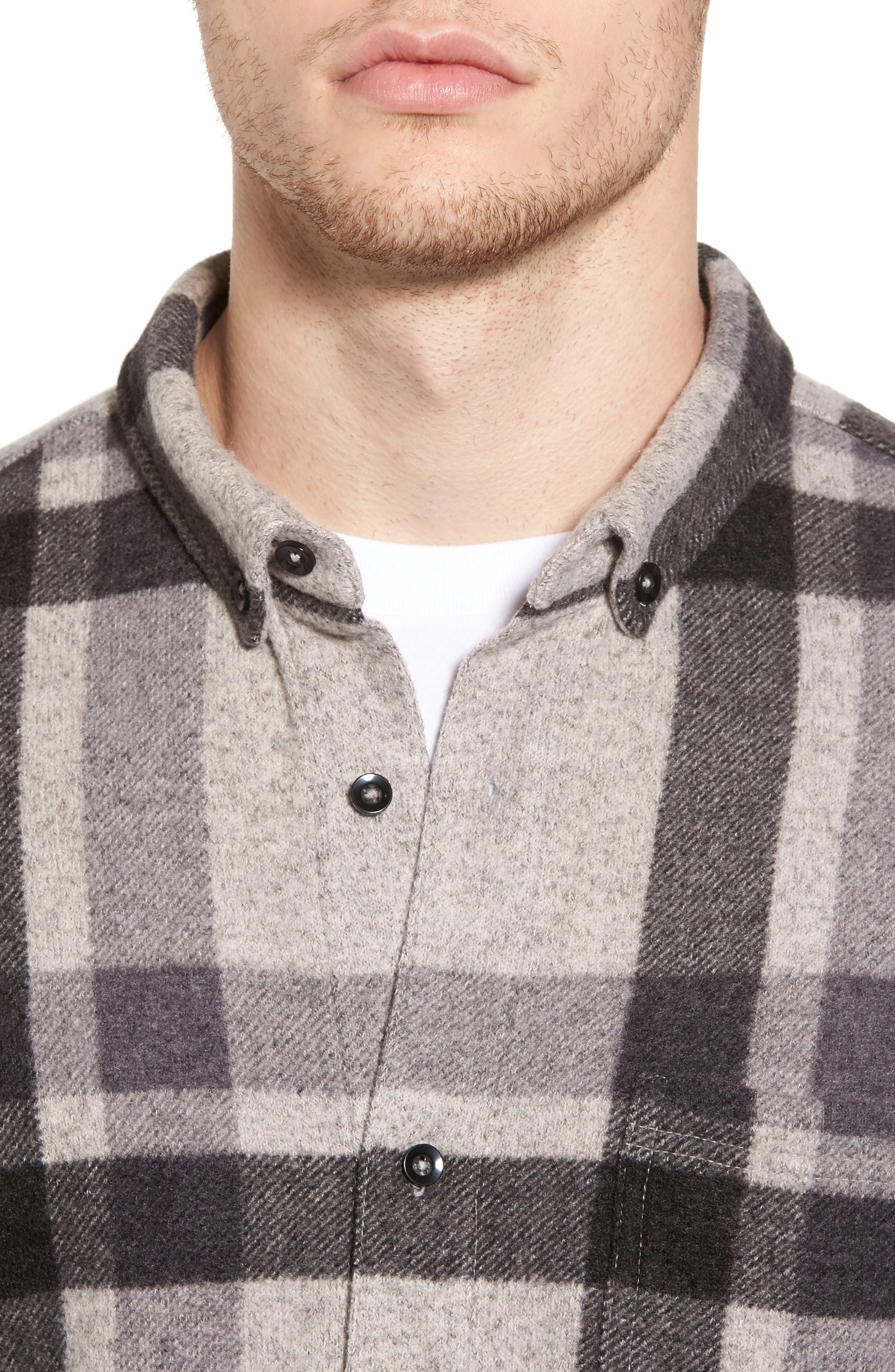 Plaid Shirt,                             Alternate thumbnail 4, color,                             Grey Charcoal Large Plaid