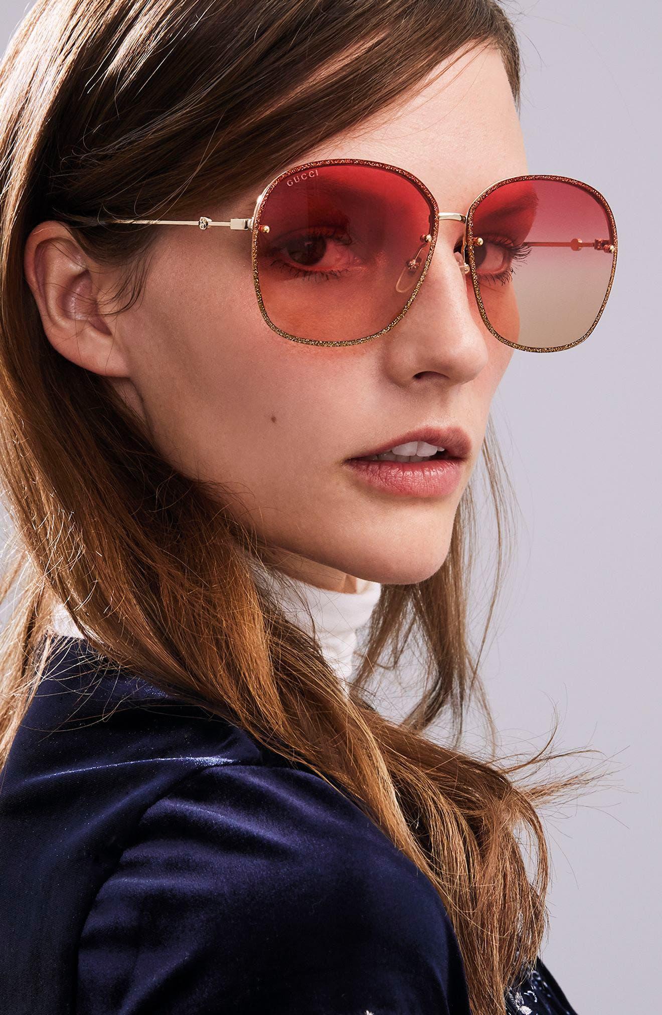 63mm Oversize Square Sunglasses,                             Alternate thumbnail 4, color,
