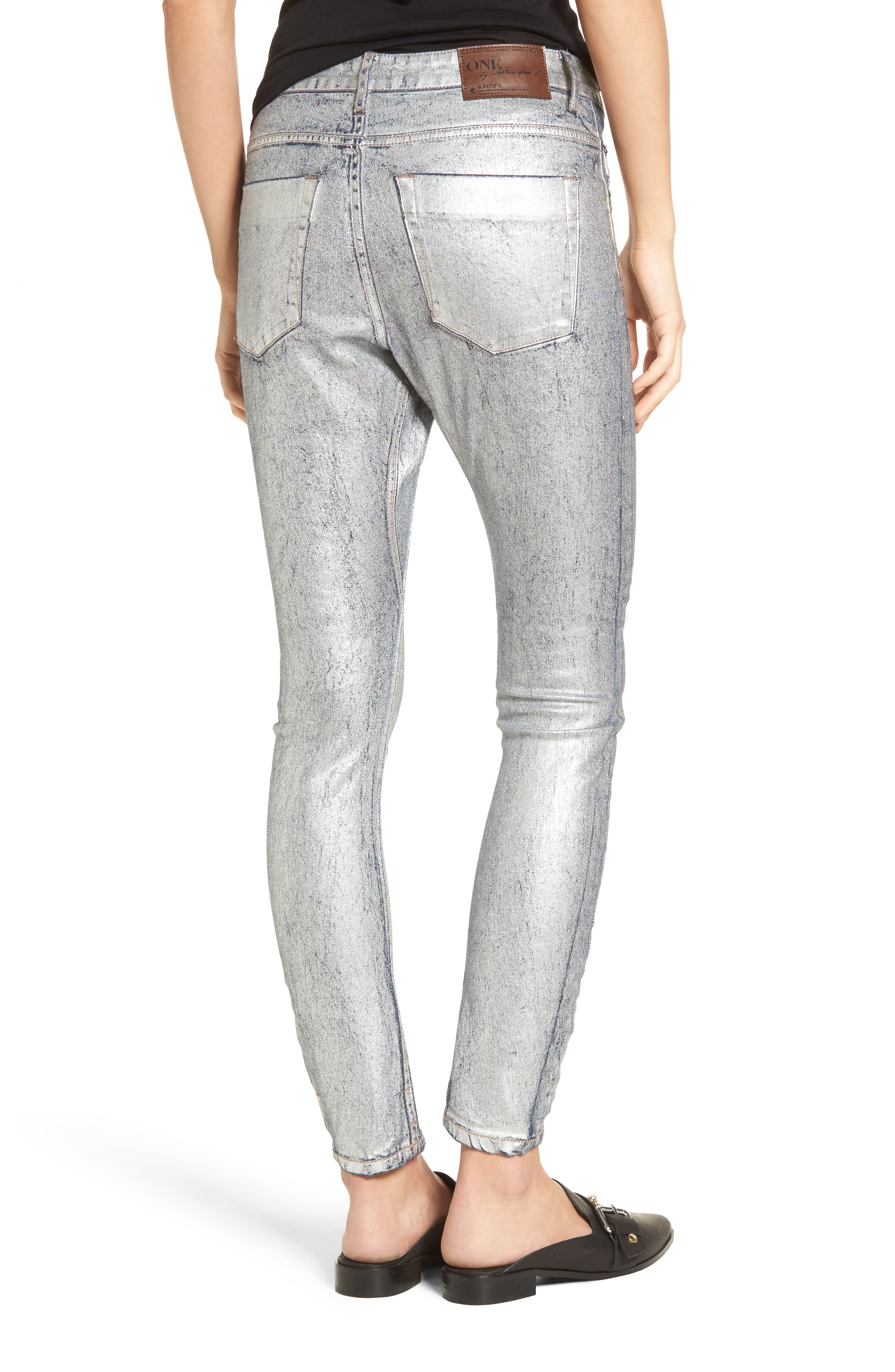Kidds Metallic Drop Crotch Skinny Jeans,                             Alternate thumbnail 2, color,                             Nightshade