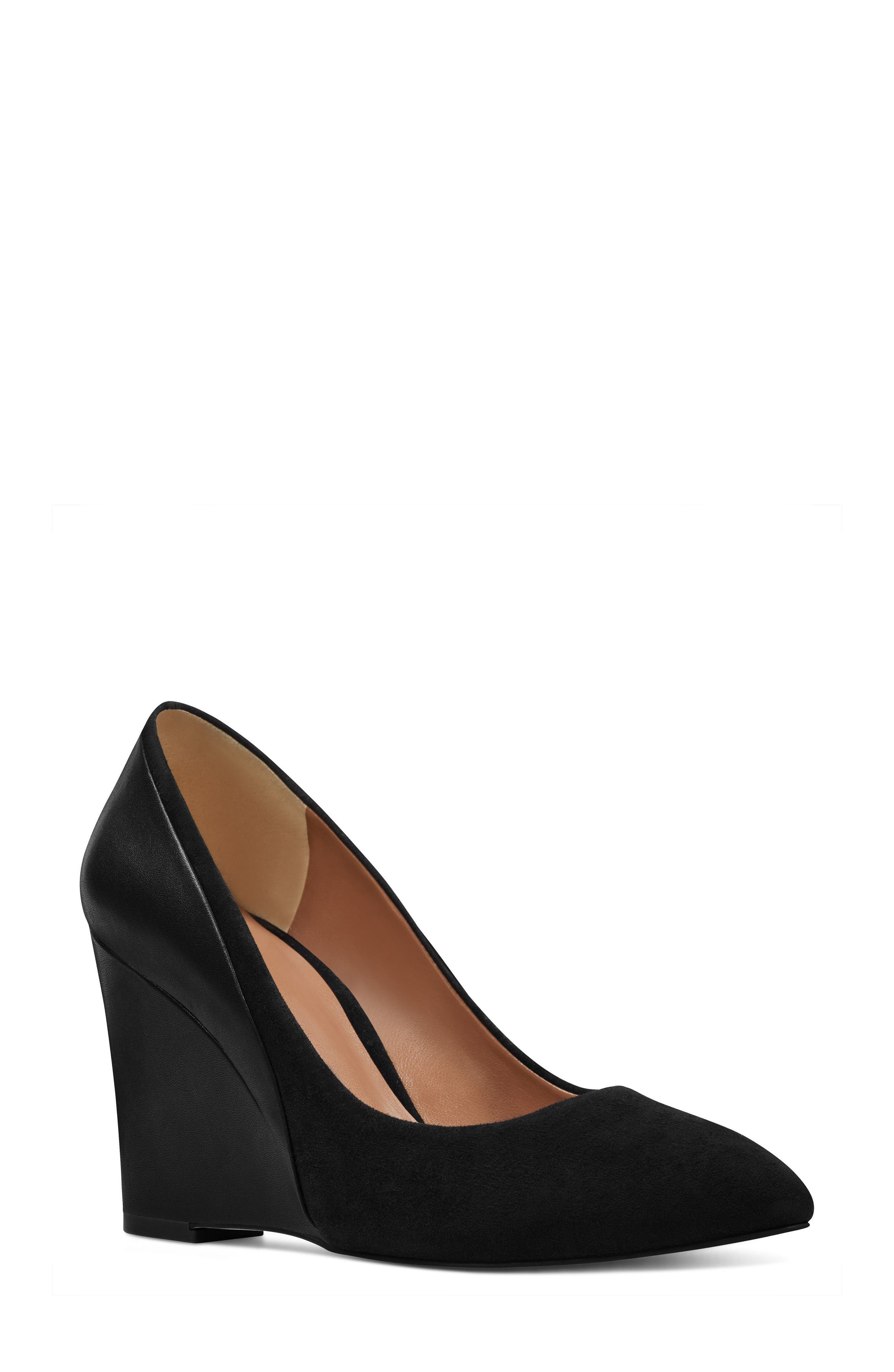 Daday Wedge,                             Main thumbnail 1, color,                             Black/ Black Suede