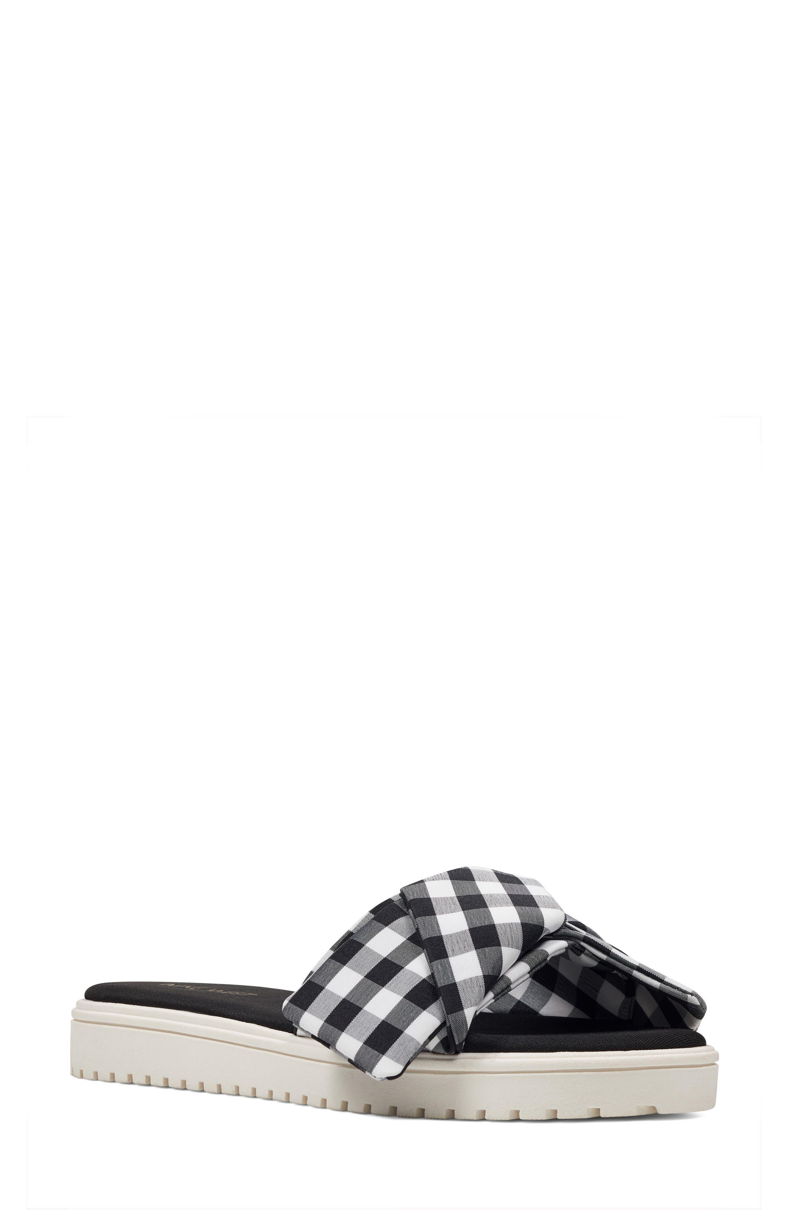 Ruth Slide Sandal,                             Main thumbnail 1, color,                             Black/ White Fabric