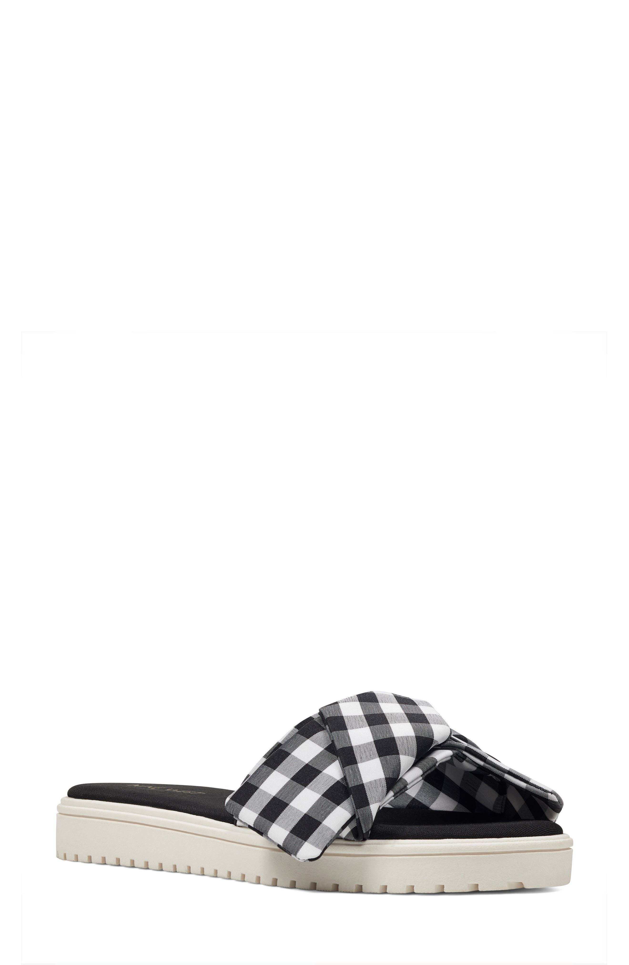 Ruth Slide Sandal,                         Main,                         color, Black/ White Fabric