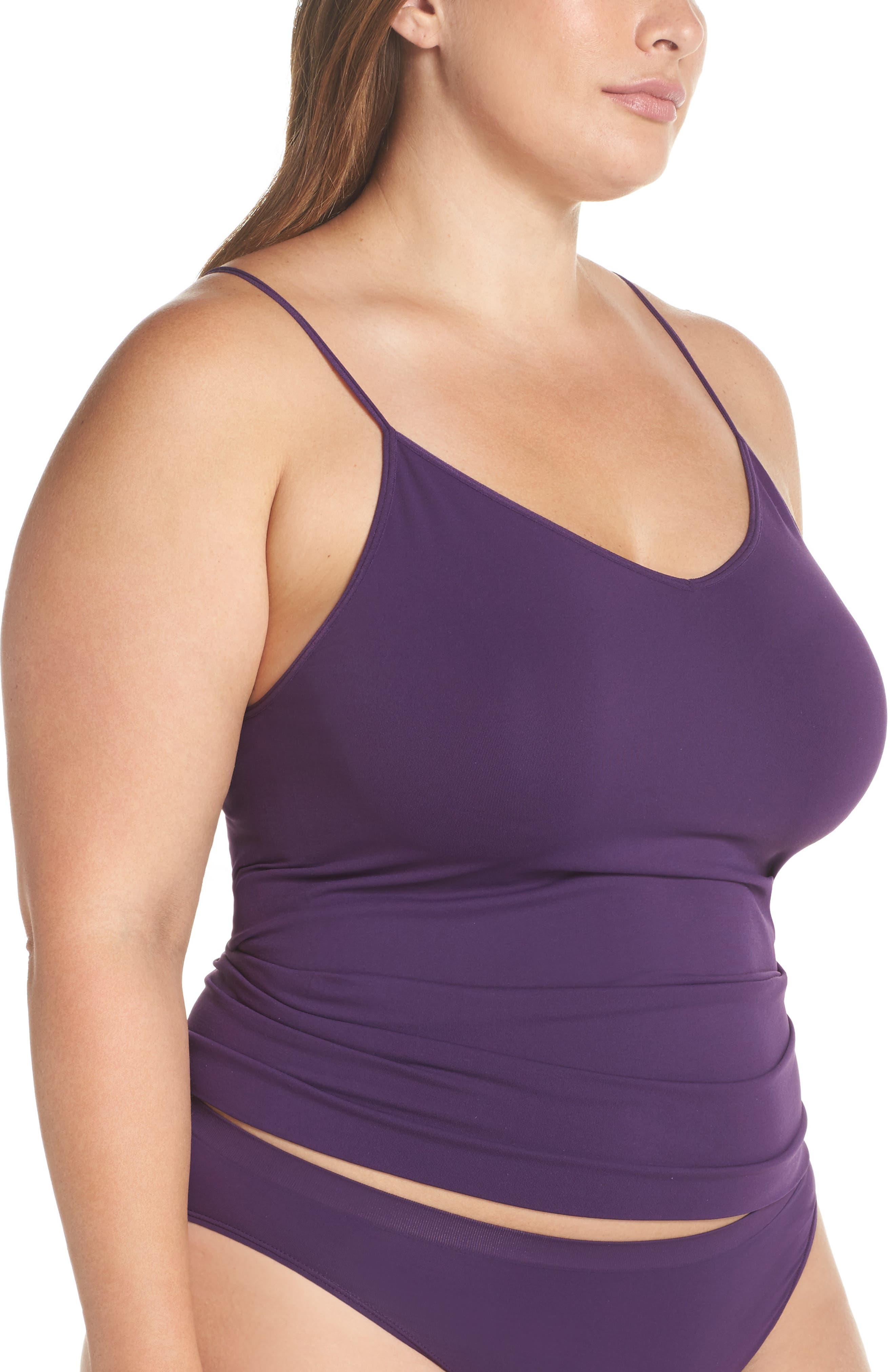 Alternate Image 3  - Halogen® Seamless Two-Way Camisole (Plus Size) (2 for $49)