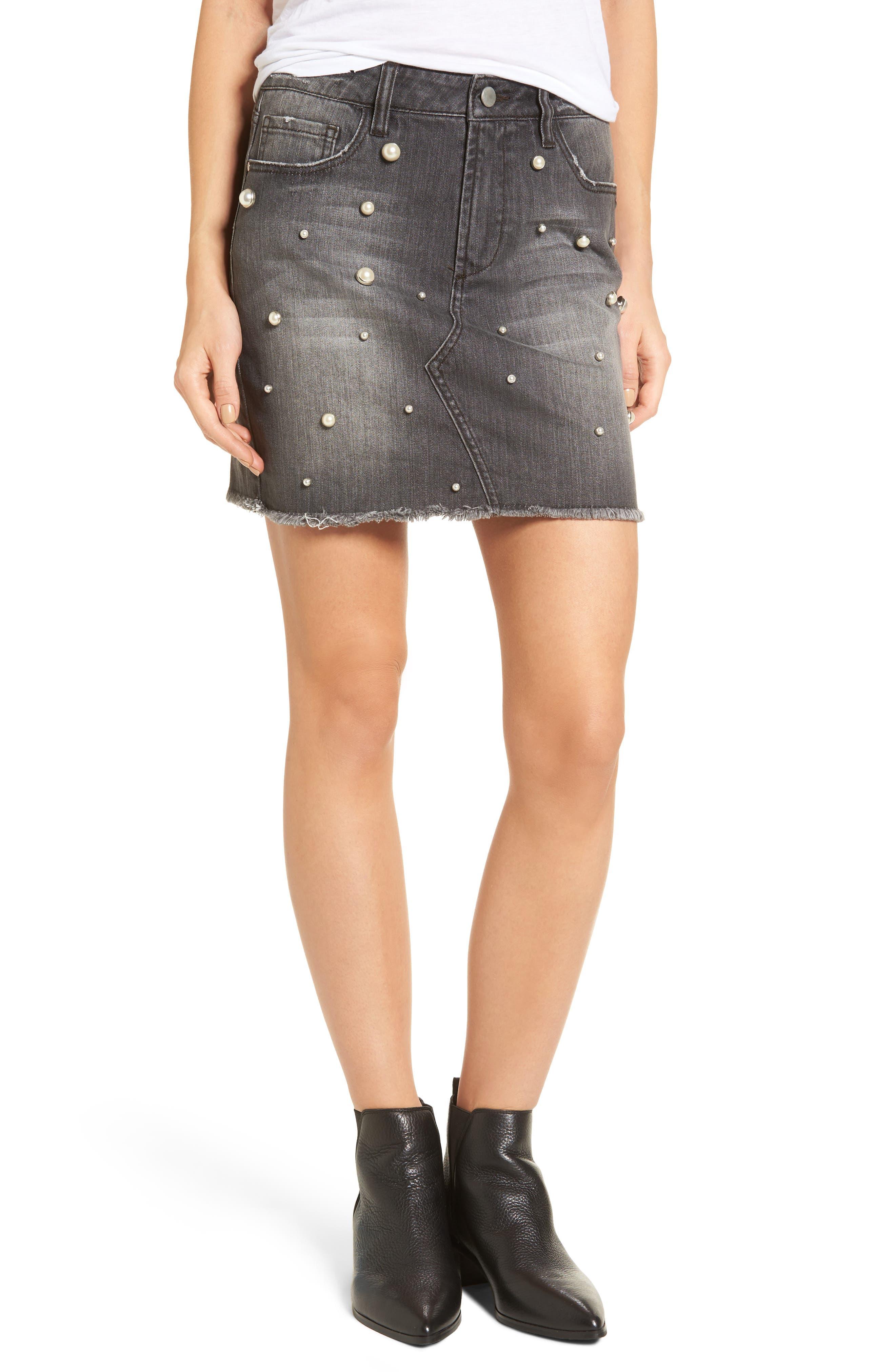 Imitation Pearl Detail Skirt,                         Main,                         color, Charcoal