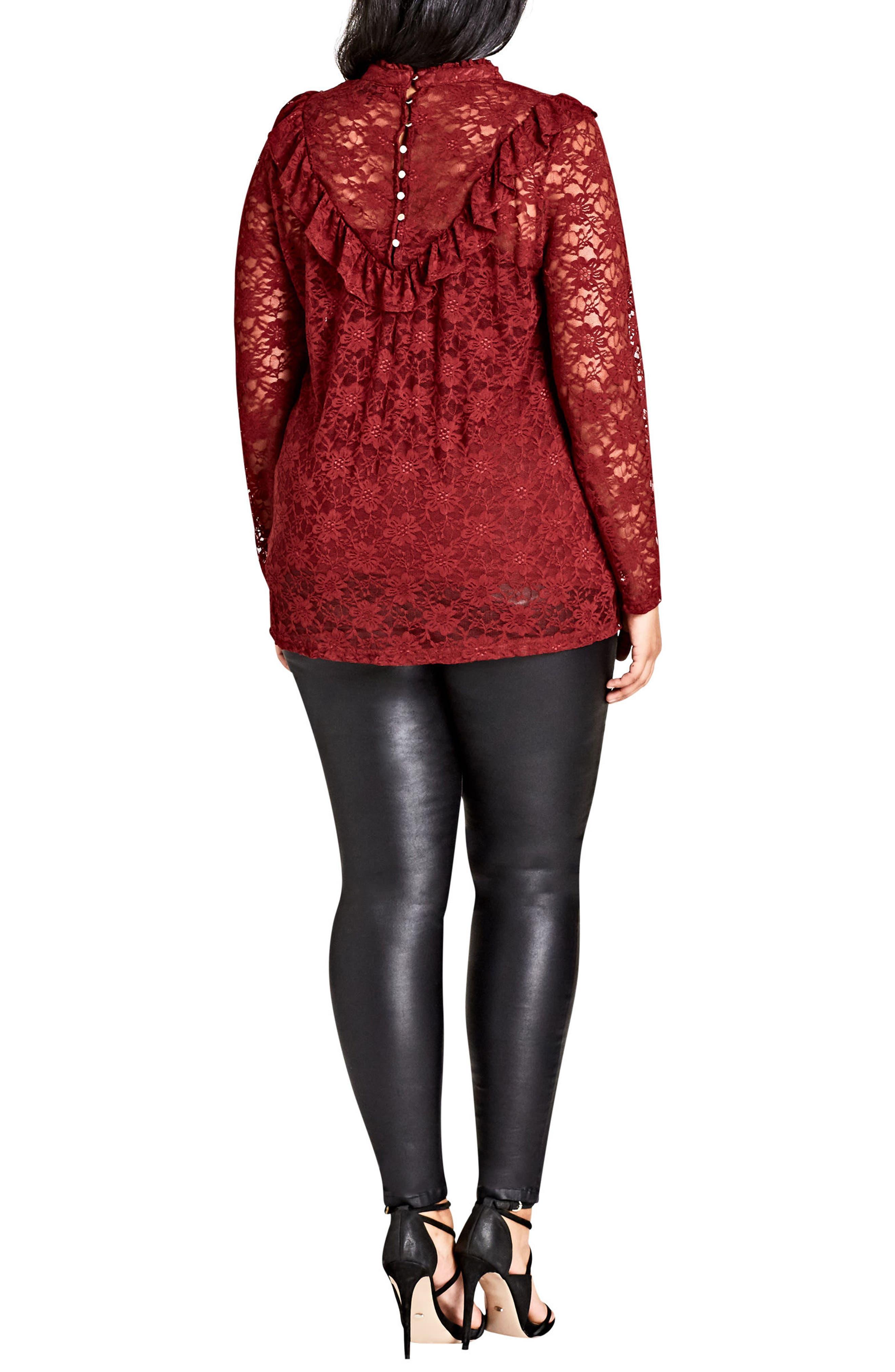 Alternate Image 2  - City Chic Victorian Lace Top (Plus Size)
