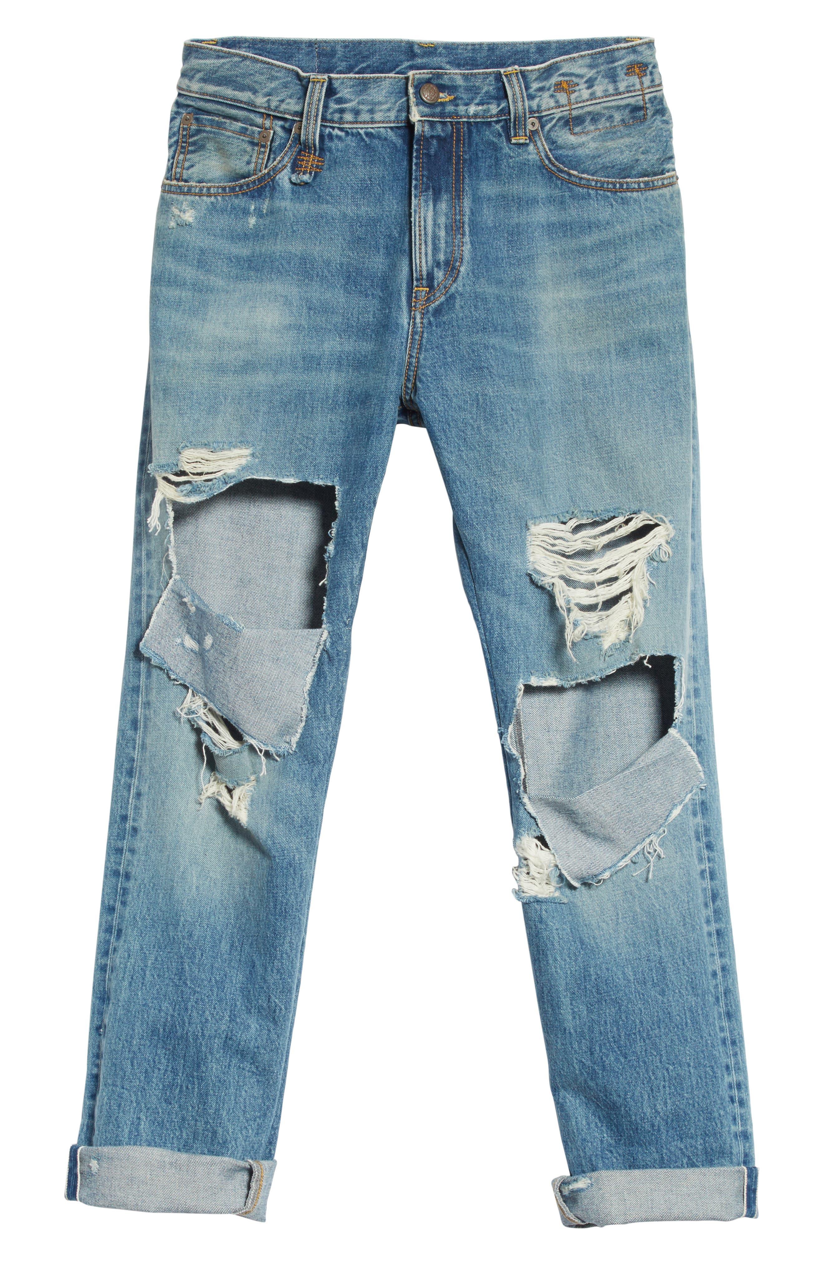 Sid Distressed Cutoff Straight Leg Jeans,                             Alternate thumbnail 6, color,                             Jasper Selvege W Rips