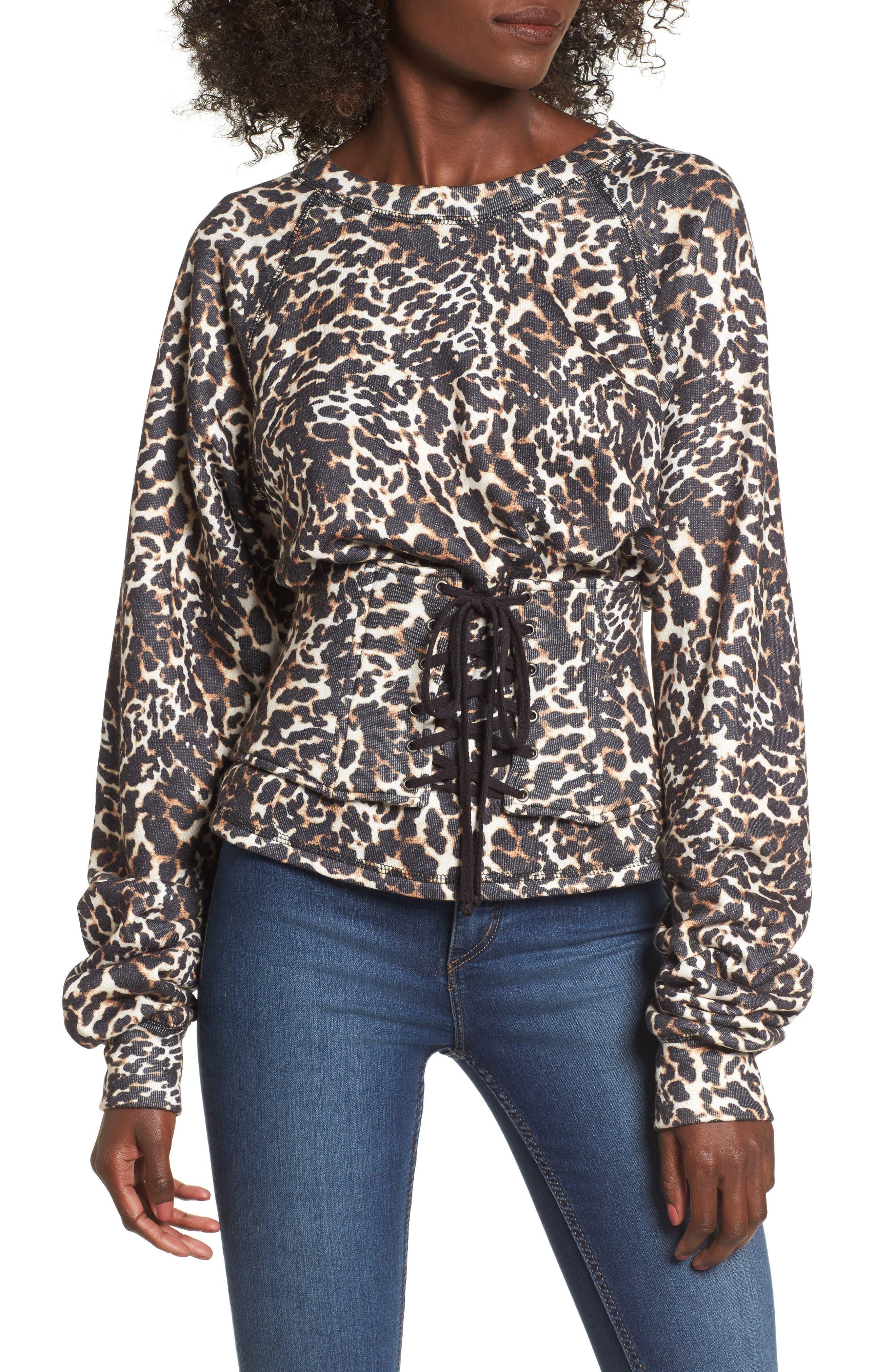 Mason Corset Sweatshirt,                             Main thumbnail 1, color,                             Leopard