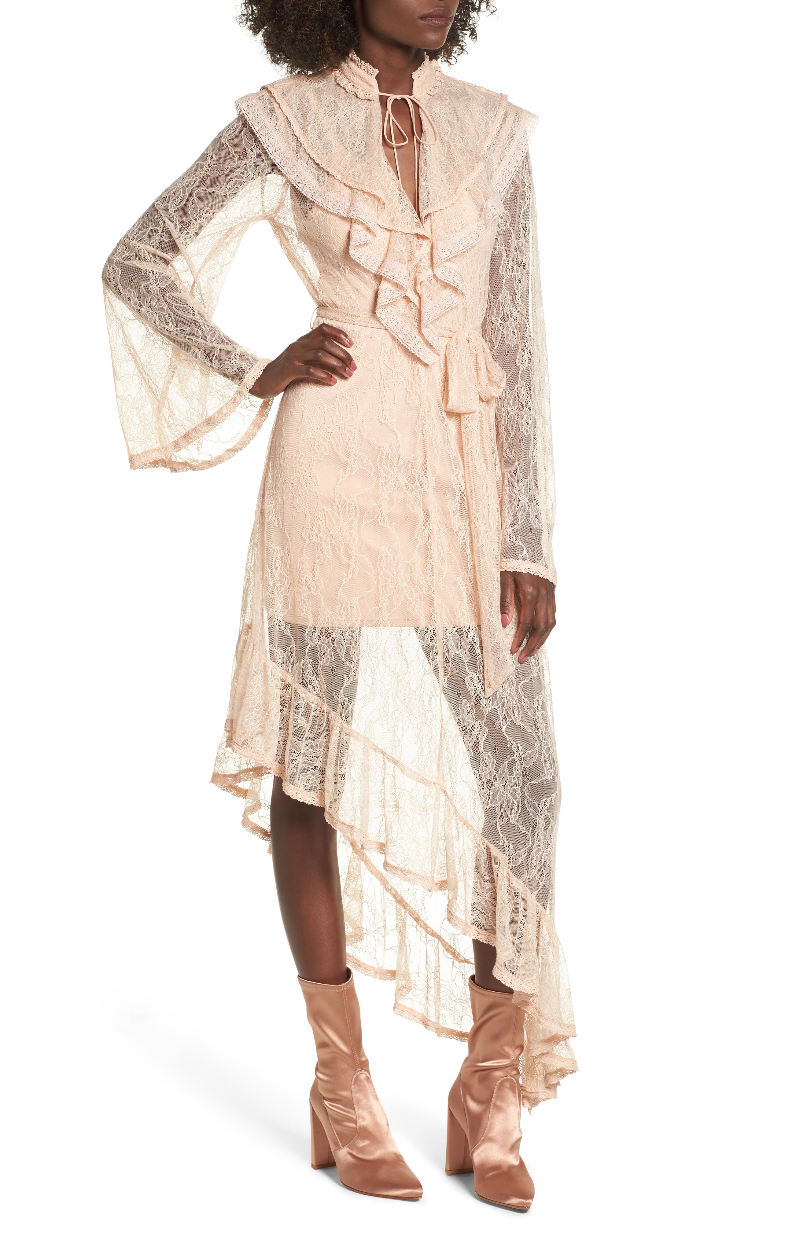 Ray Asymmetrical Lace Dress,                         Main,                         color, Shifting Sand