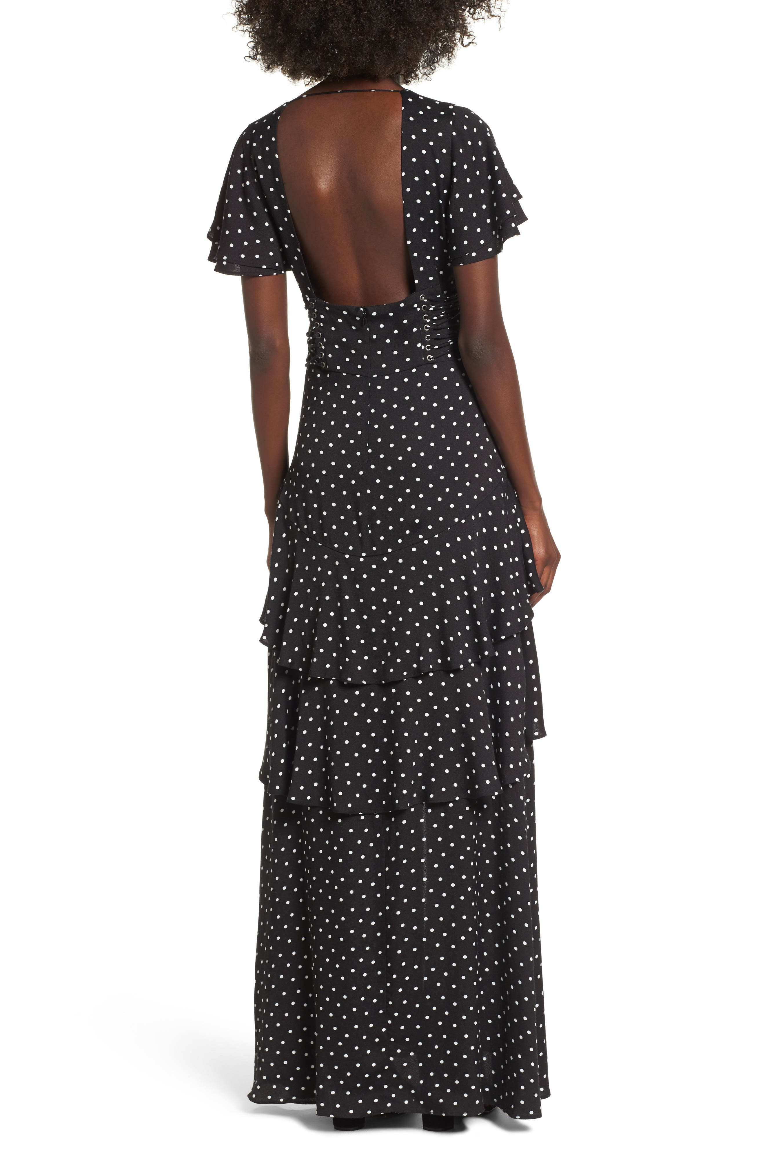 Micah Corset Maxi Dress,                             Alternate thumbnail 2, color,                             Noir Polka Dot