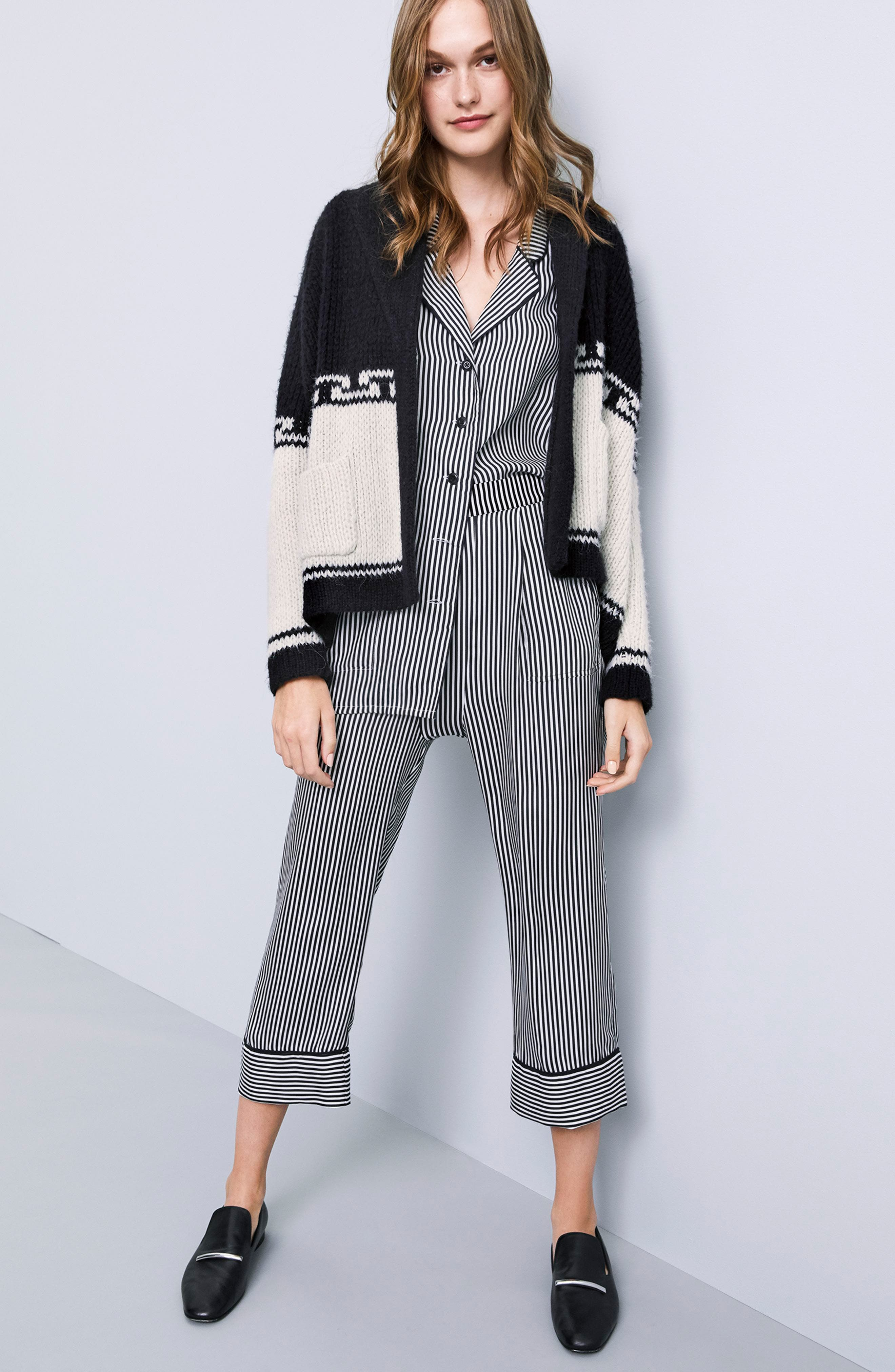Pencil Stripe Silk Pajama Trousers,                             Alternate thumbnail 2, color,