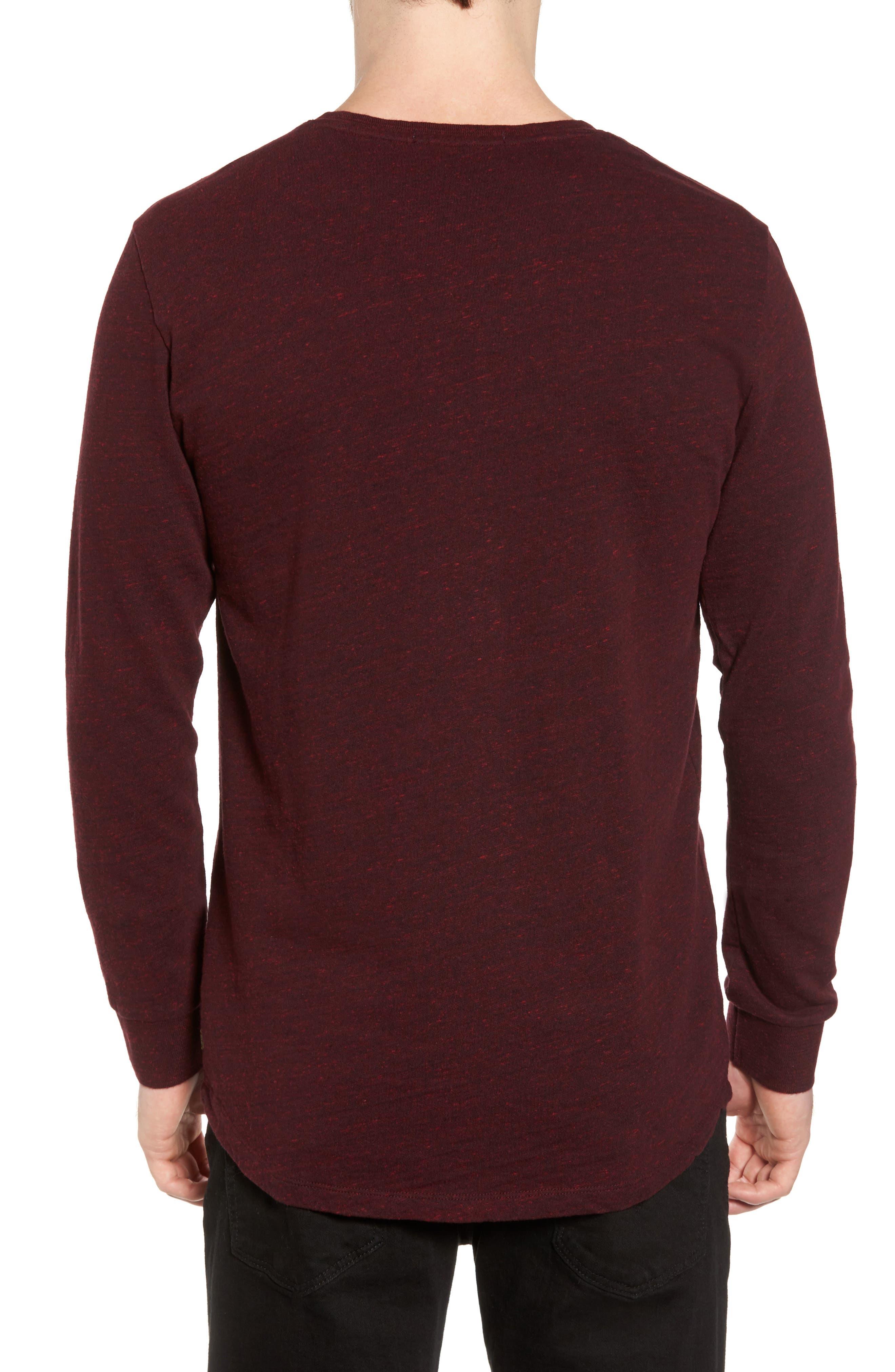 Grandad Henley T-Shirt,                             Alternate thumbnail 2, color,                             Oxblood Melange