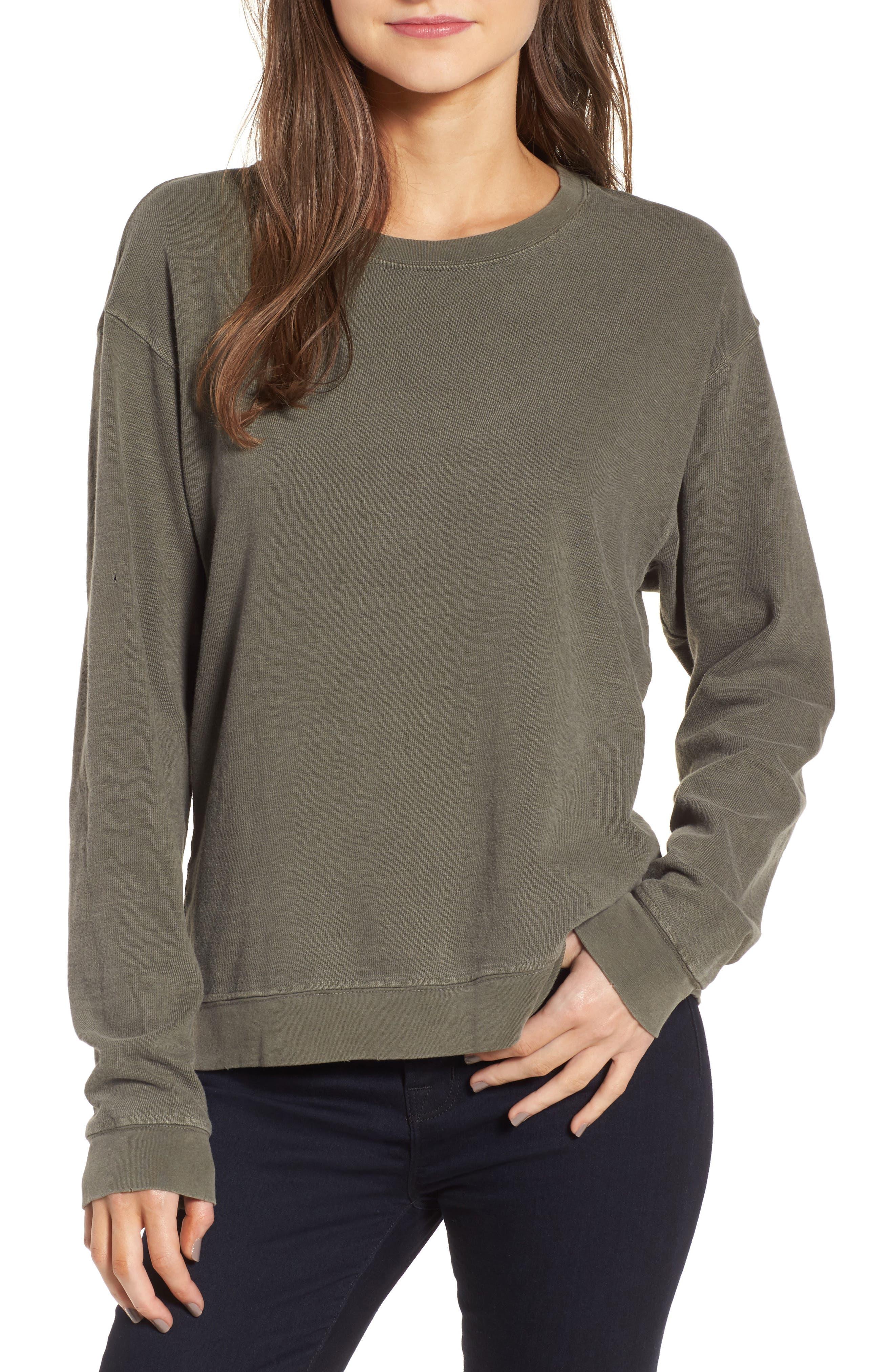 Distressed Sweatshirt,                         Main,                         color, Shale Pigment