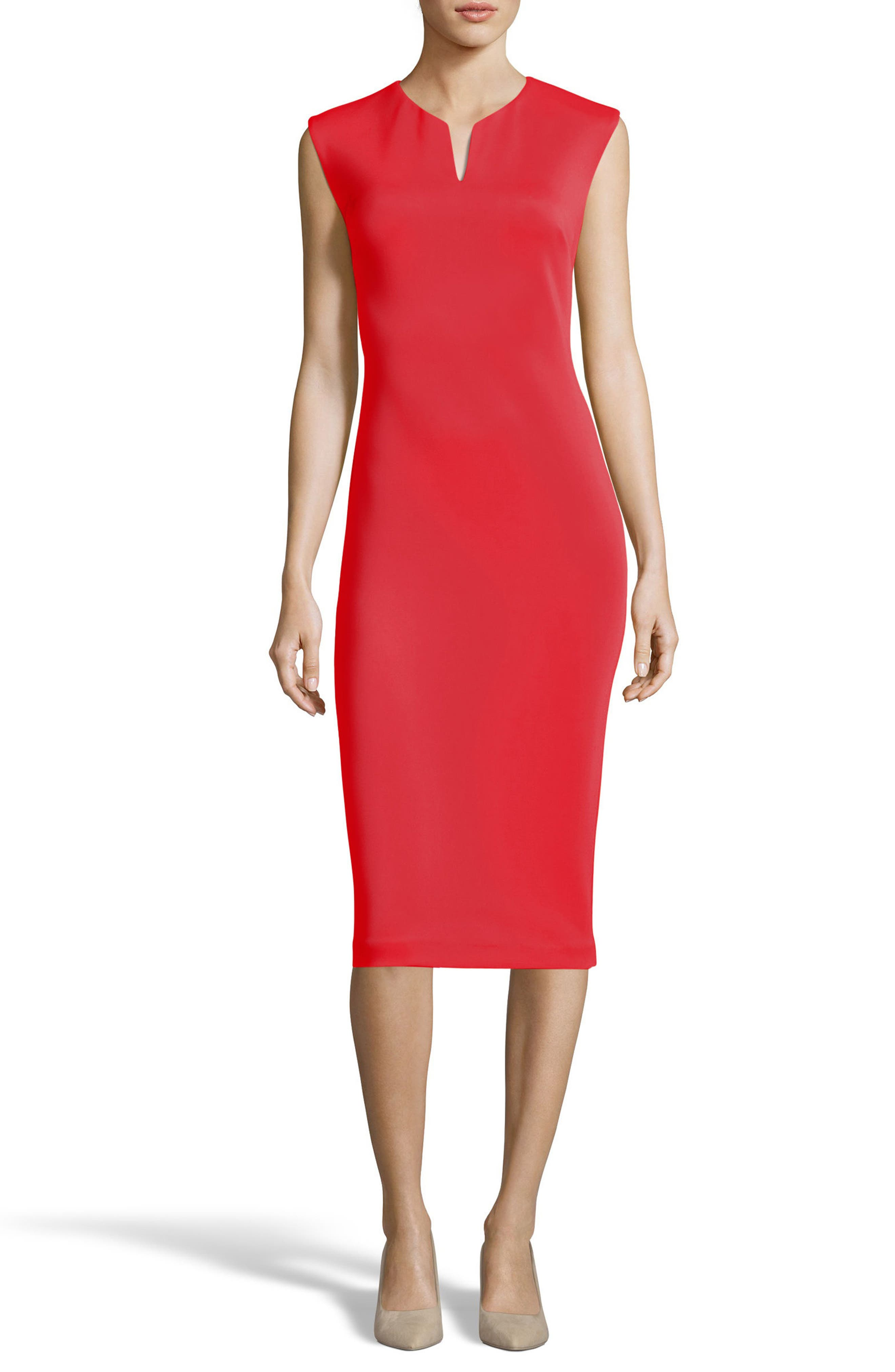 Notch Neck Sheath Dress,                             Main thumbnail 1, color,                             Red