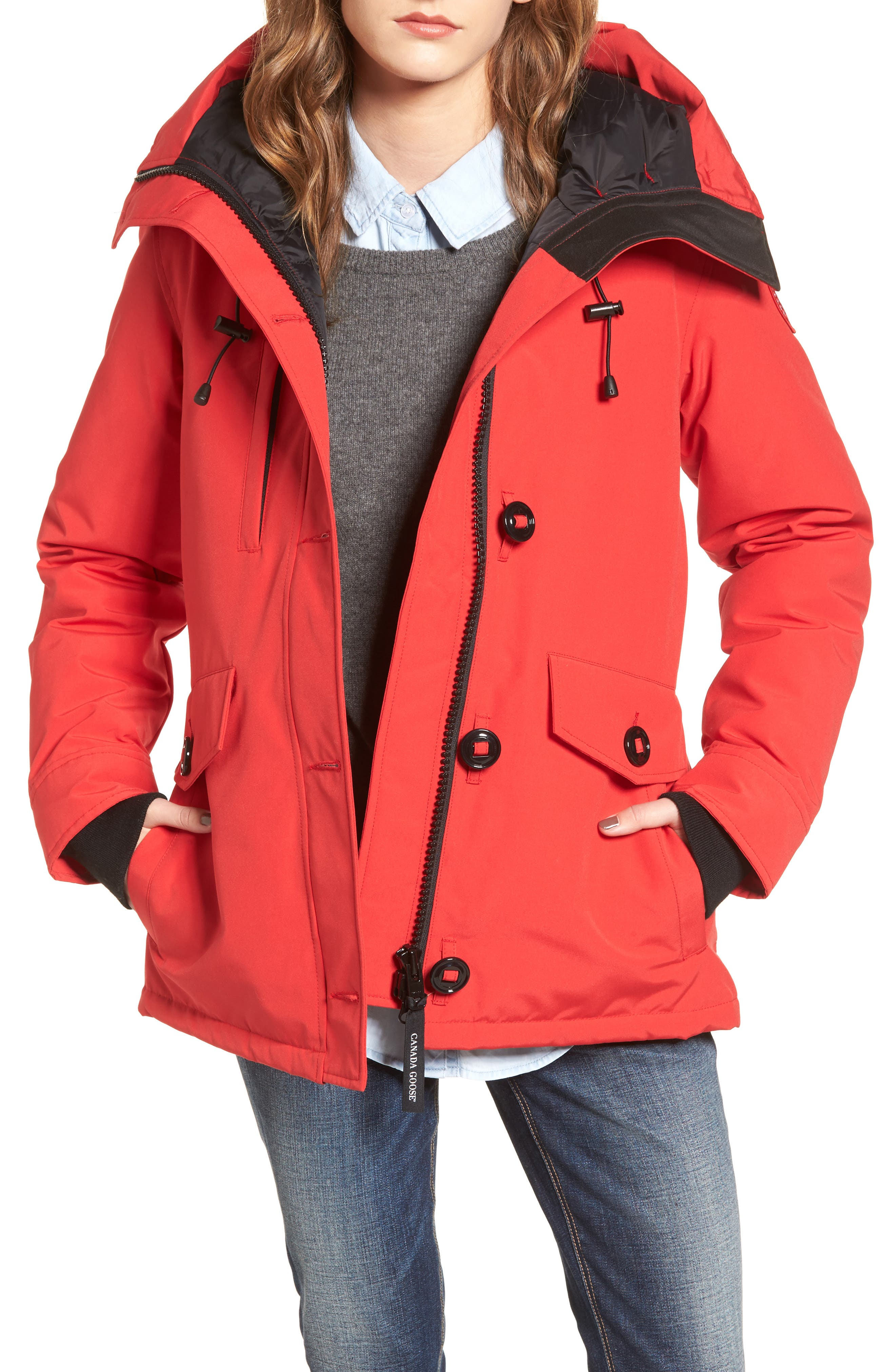 'Rideau' Slim Fit Down Parka,                             Main thumbnail 1, color,                             Red