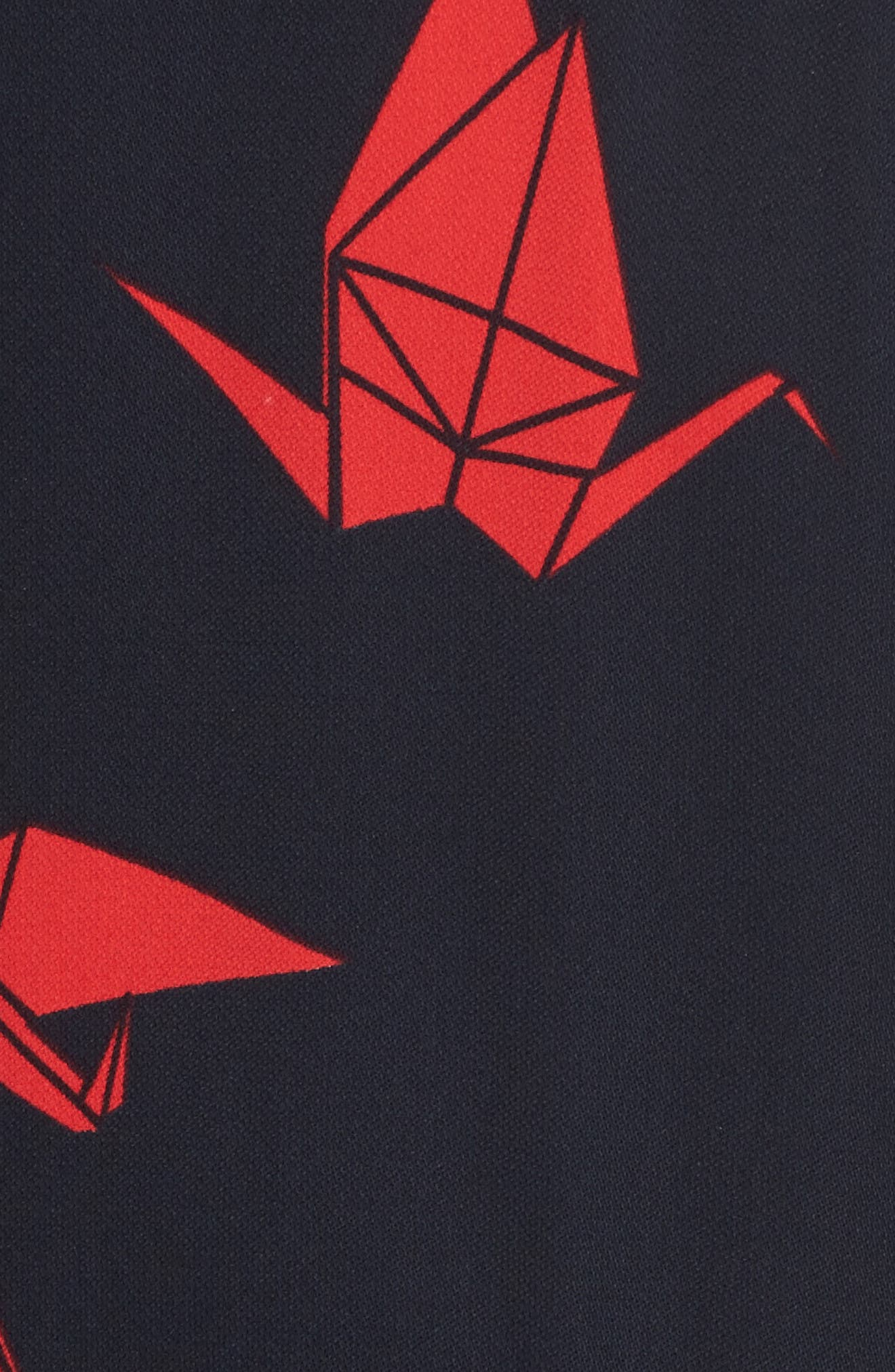 Print Midi Dress,                             Alternate thumbnail 5, color,                             Navy Night Paper Cranes