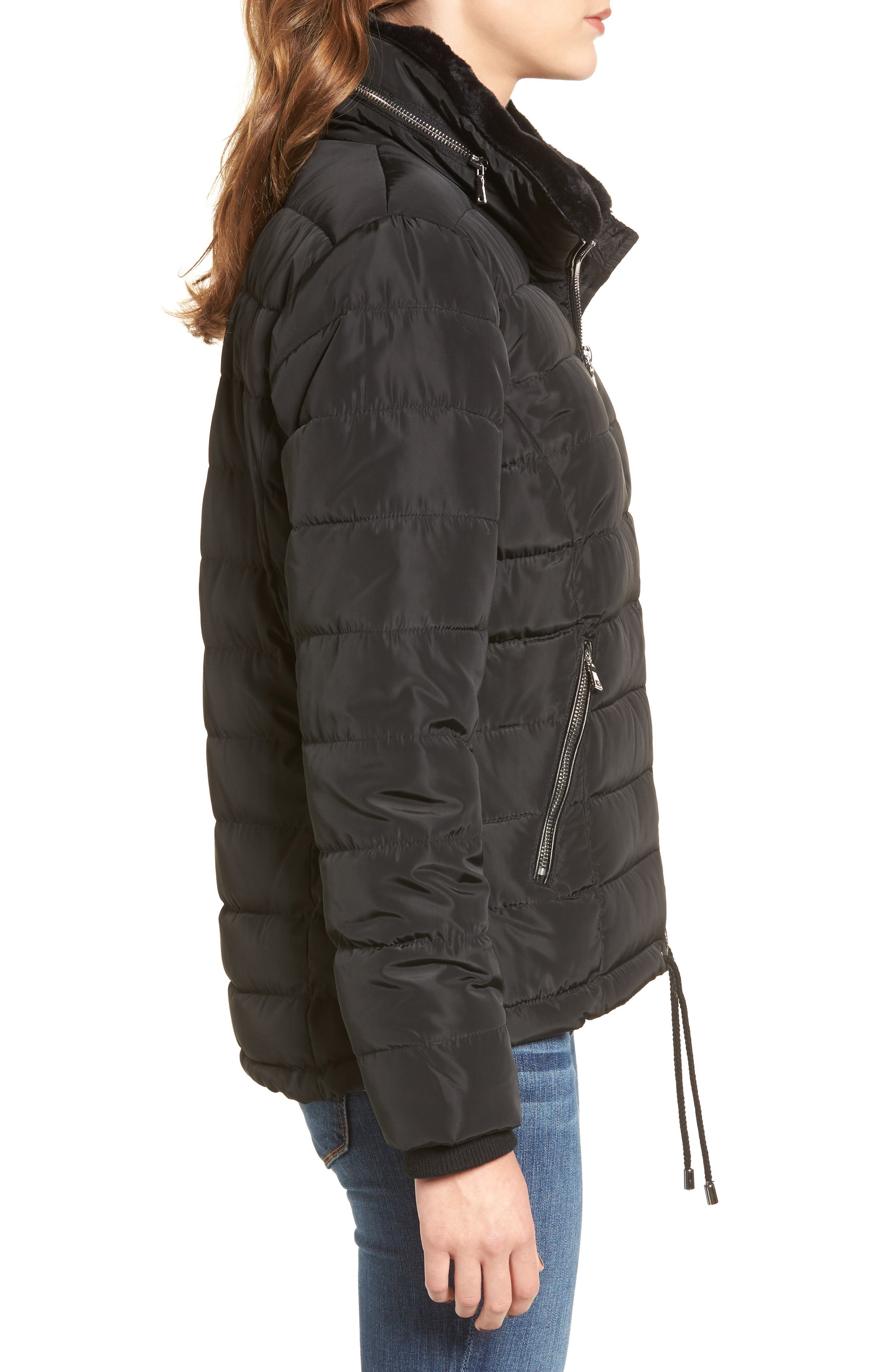 Puffer Jacket with Faux Fur,                             Alternate thumbnail 4, color,                             Black