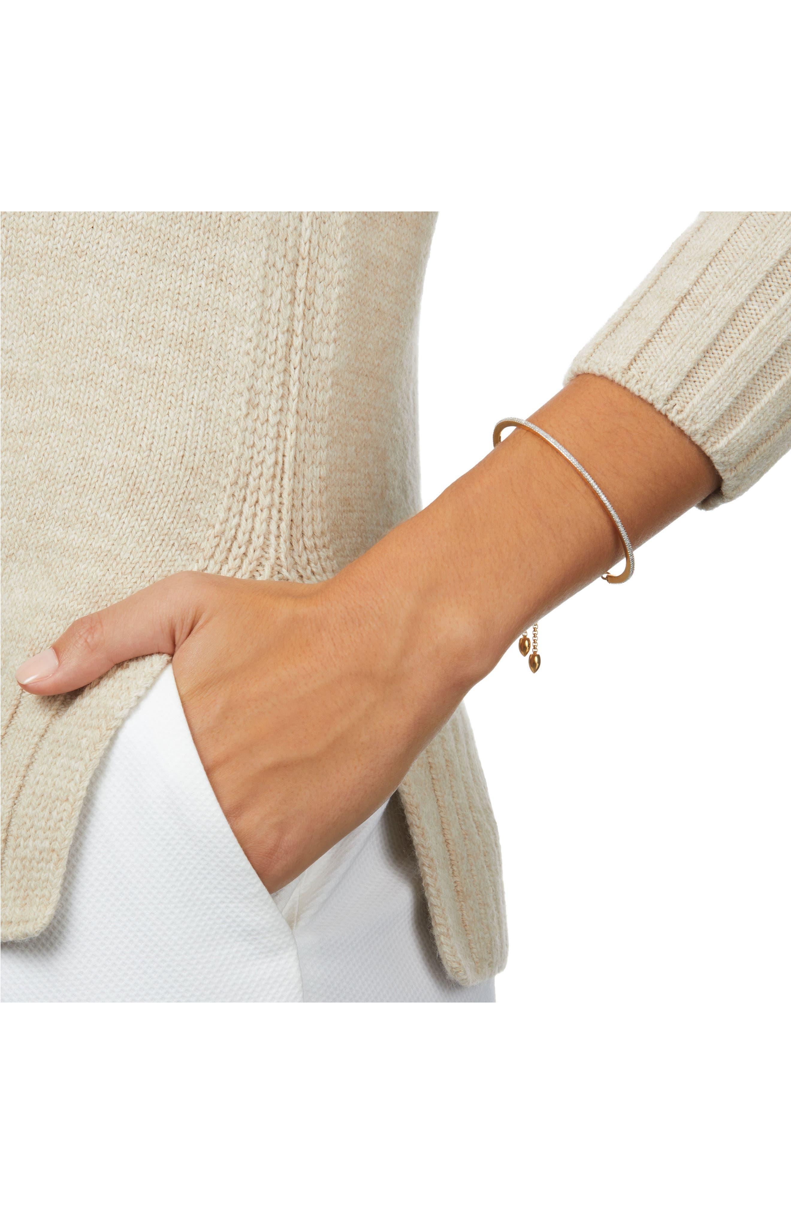 Fiji Skinny Vermeil Diamond Bar Bracelet,                             Alternate thumbnail 2, color,                             Gold