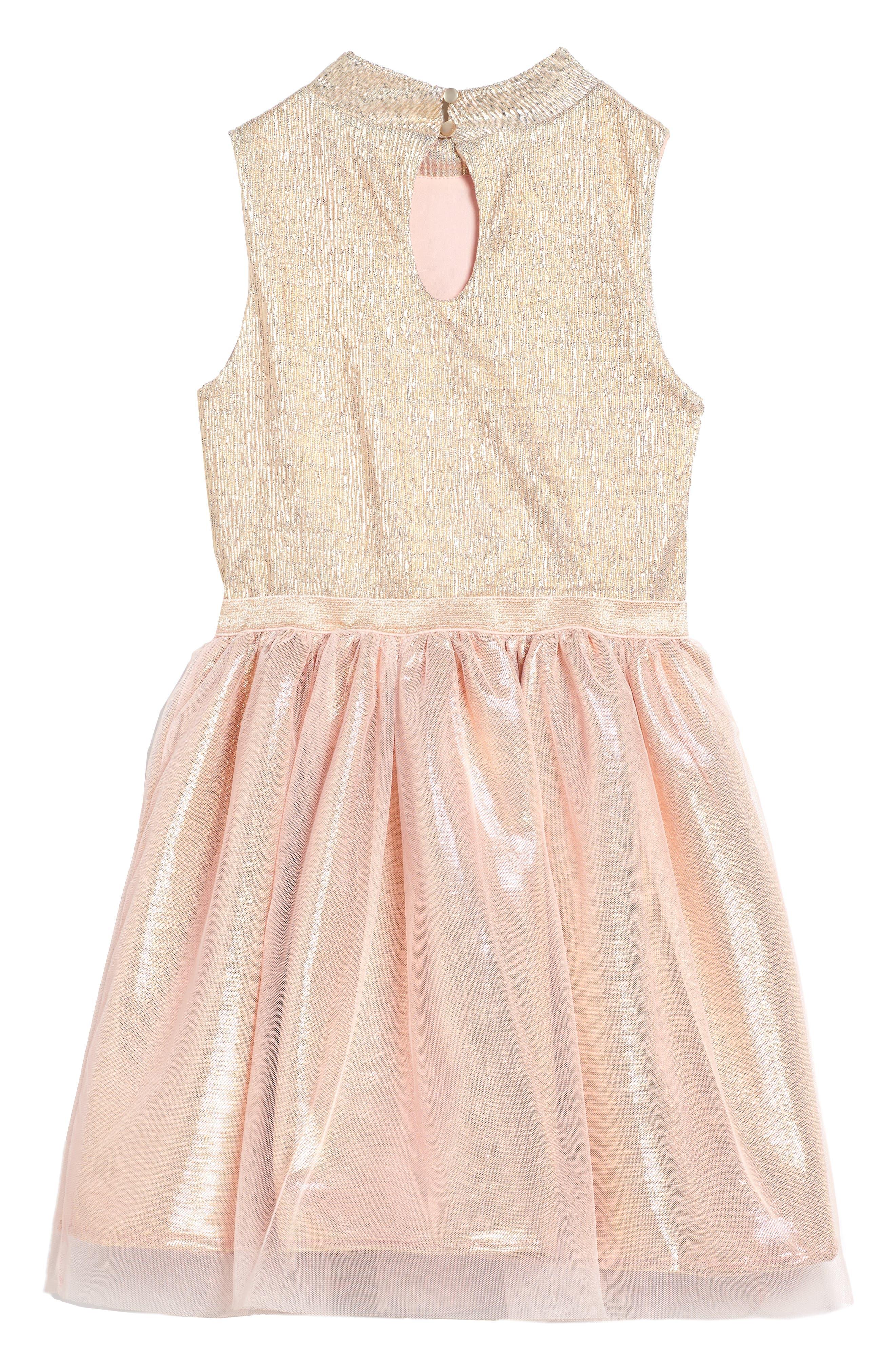 Alternate Image 2  - Zunie Metallic Shimmer Mock Neck Dress (Big Girls)