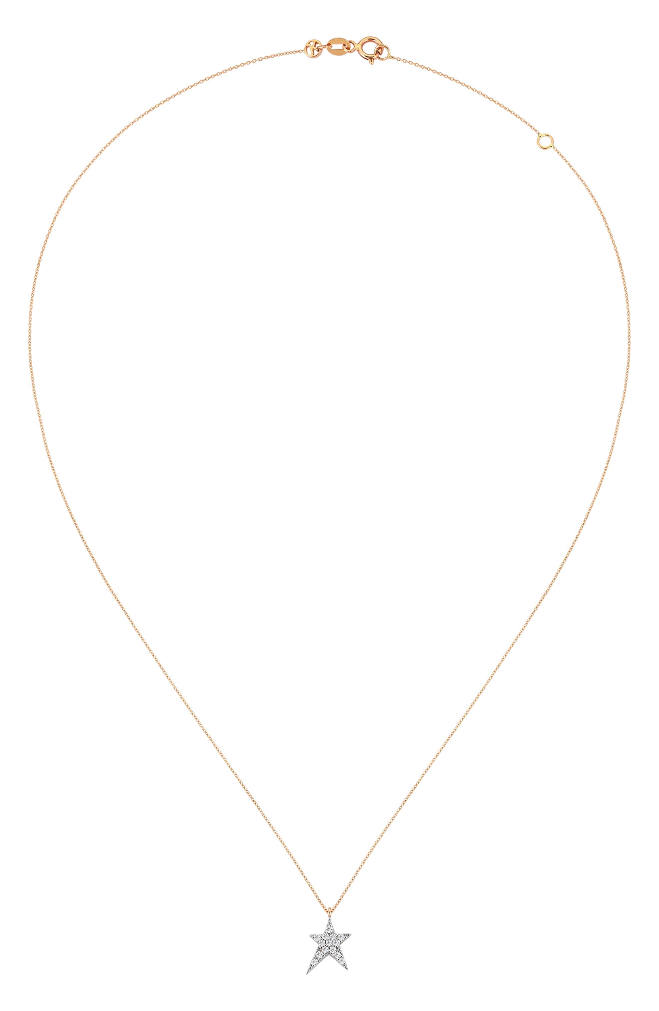 Diamond Star Pendant Necklace,                             Alternate thumbnail 2, color,                             Rose Gold