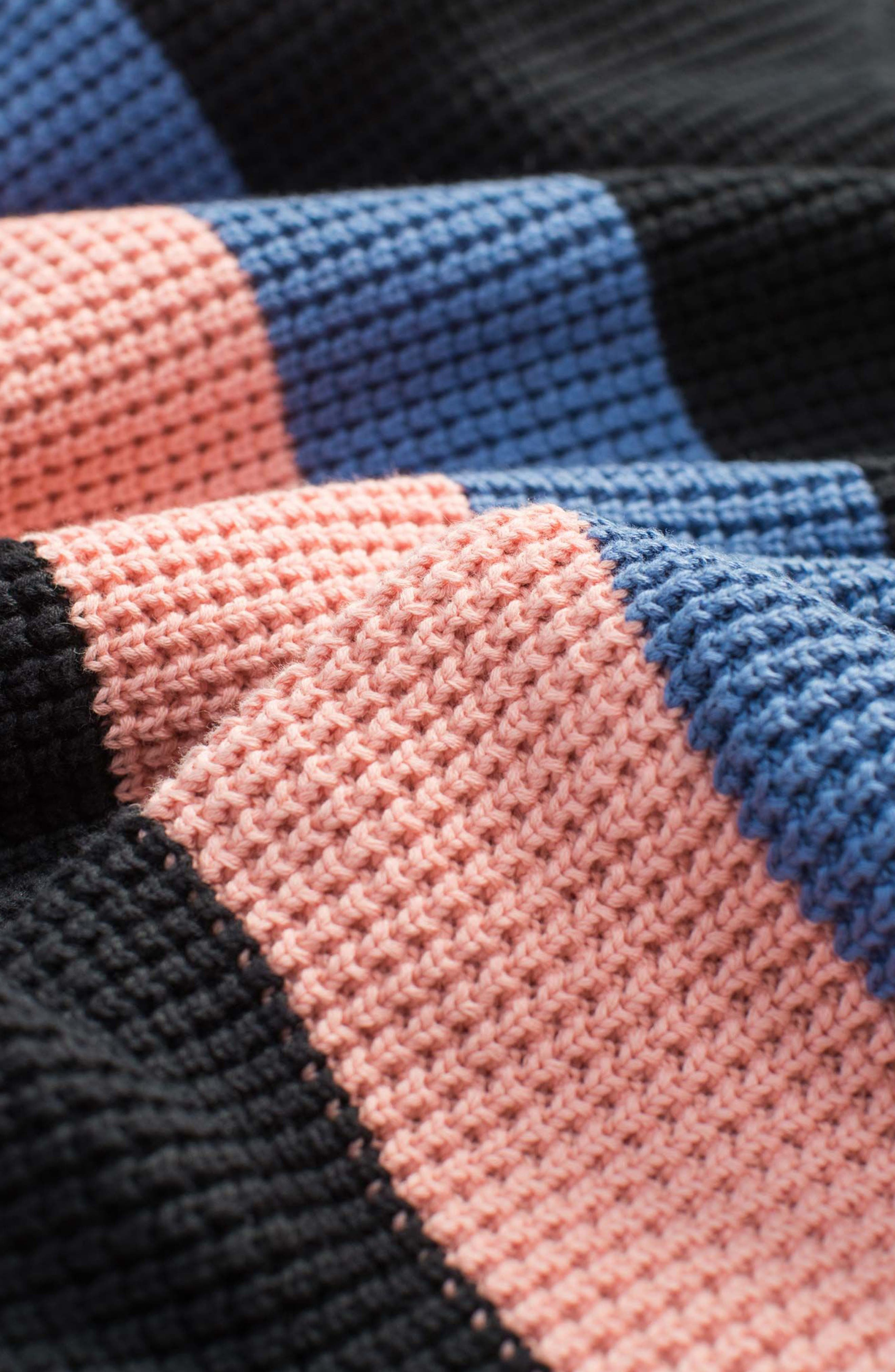 Rugby Stripe Sweater,                             Alternate thumbnail 5, color,                             Black/ Pink