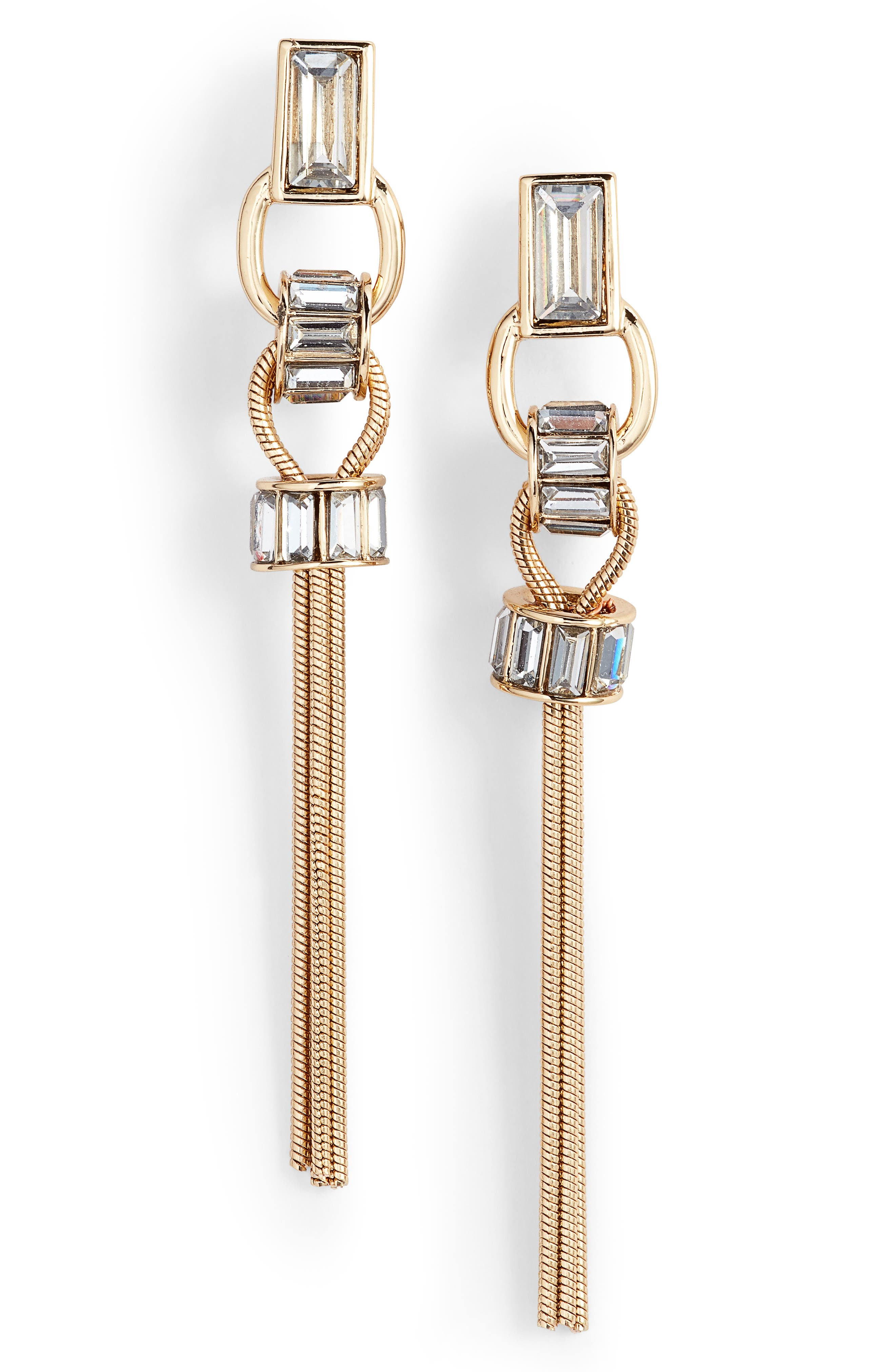 Linear Tassel Earring,                         Main,                         color, Gold
