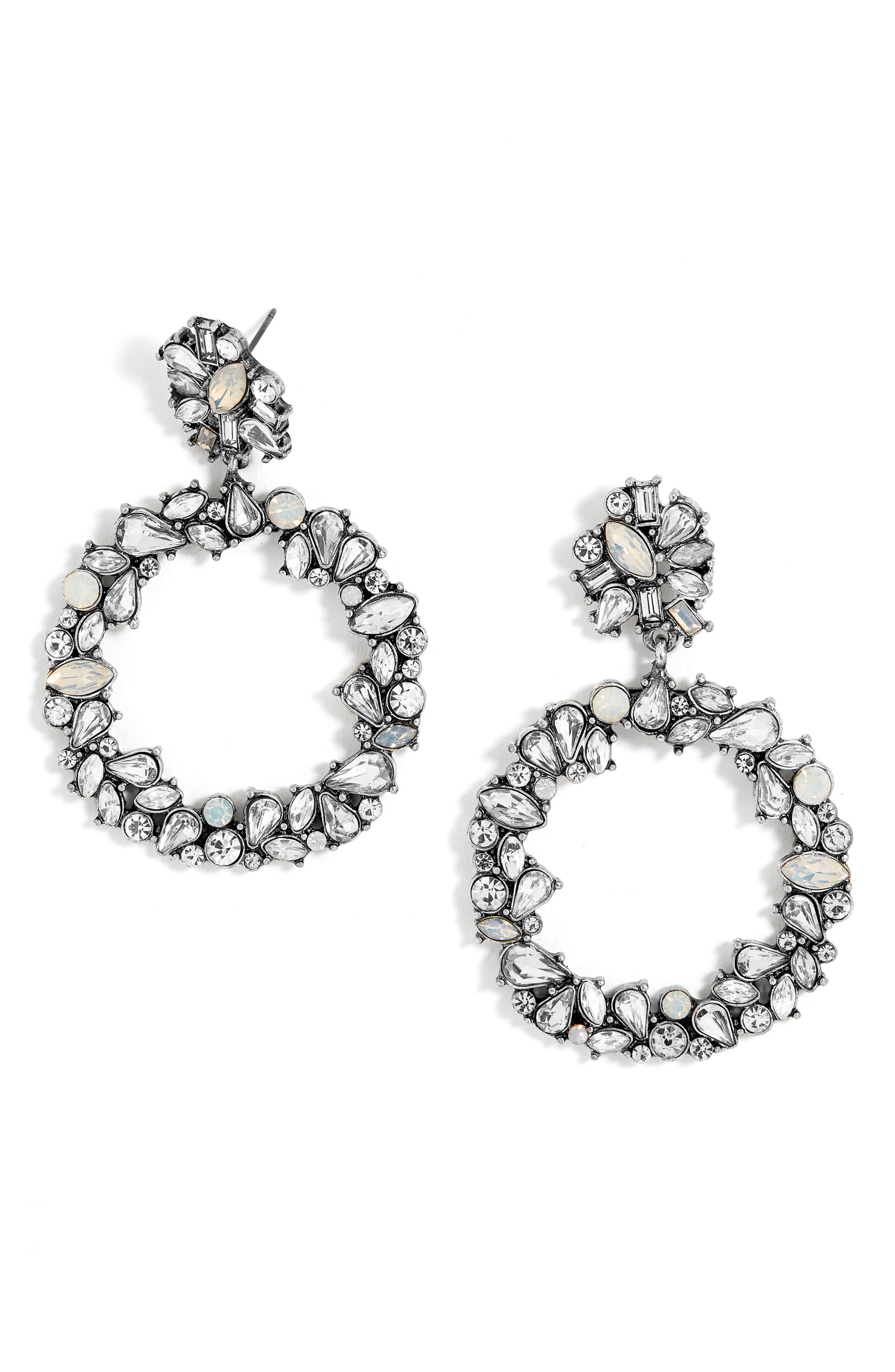 Andorra Crystal Hoop Earrings,                         Main,                         color, Antique Silver