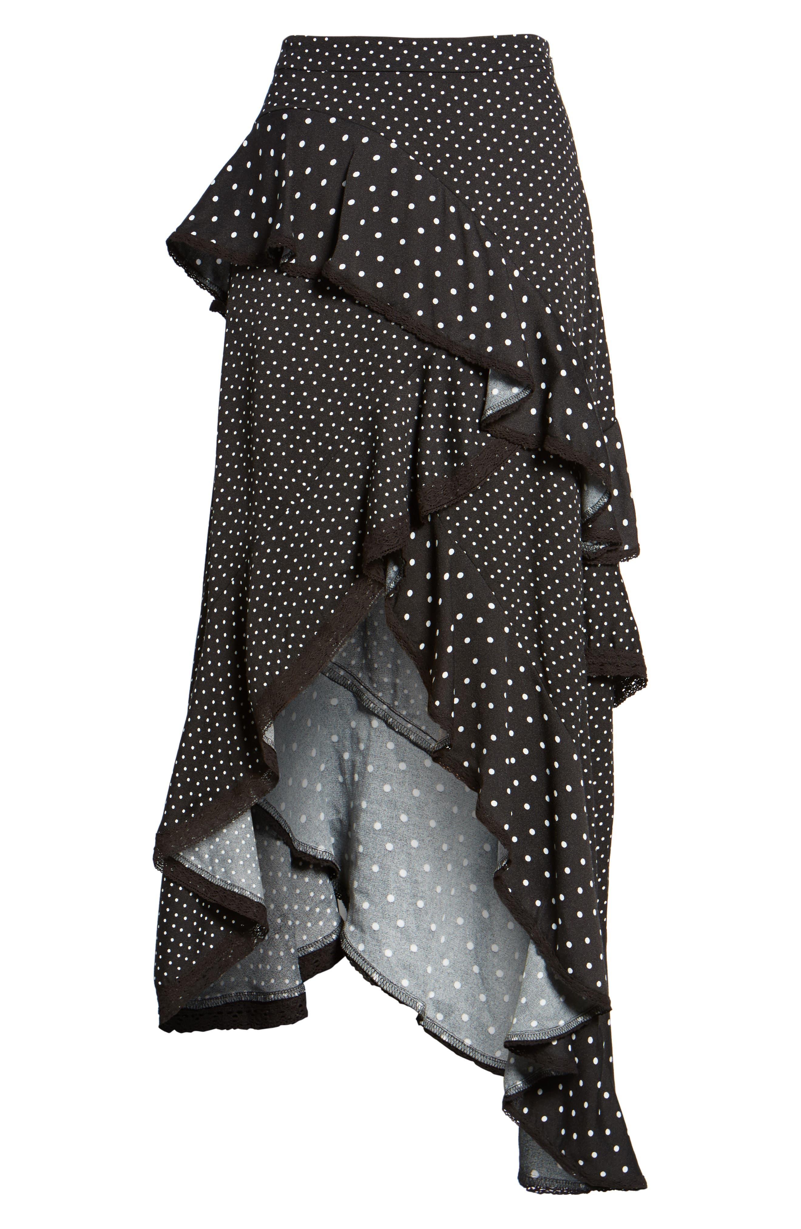 Grace Asymmetrical Ruffle Skirt,                             Alternate thumbnail 6, color,                             Noir Polka Dot
