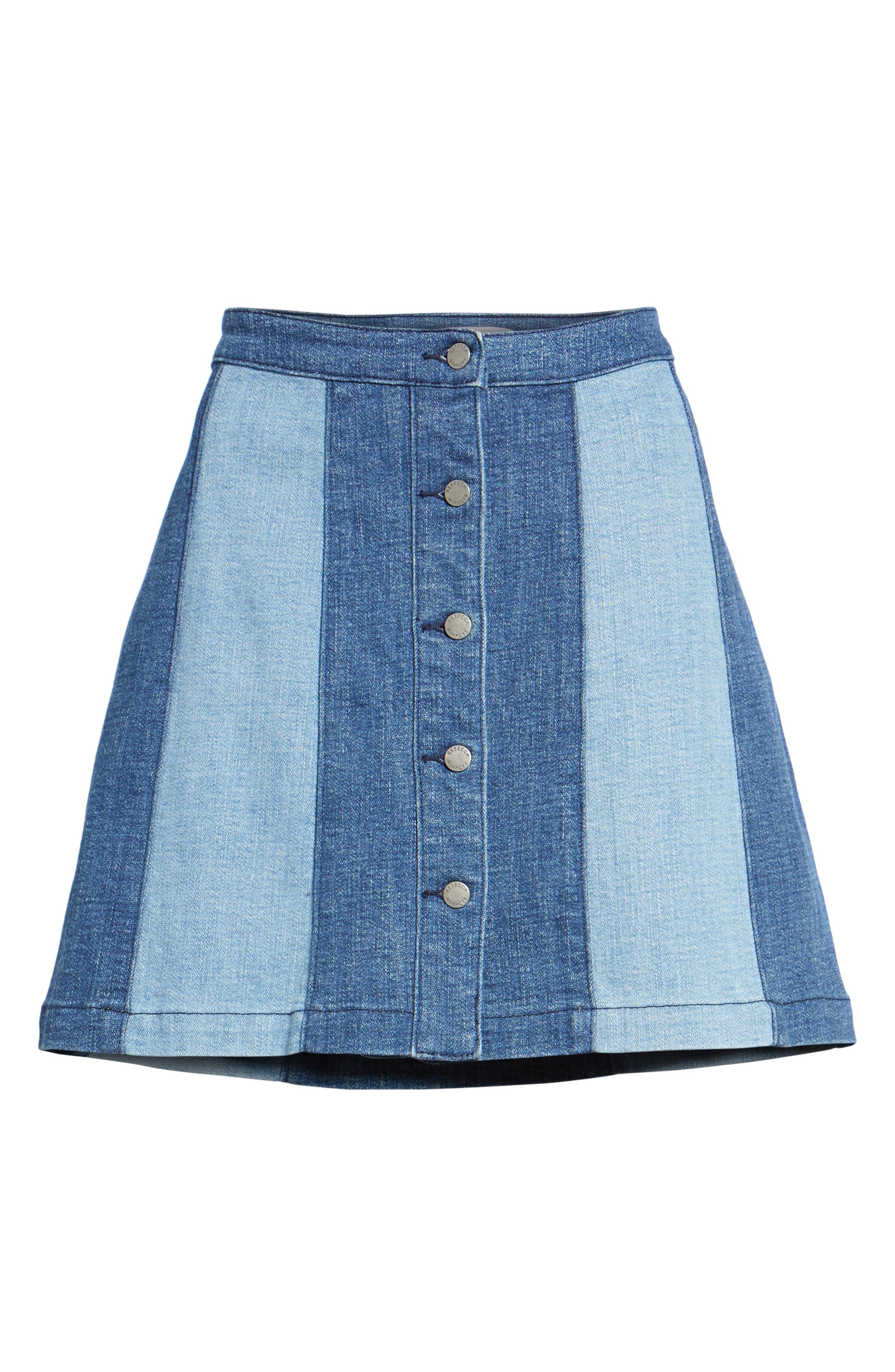 Beatty Denim Miniskirt,                             Alternate thumbnail 6, color,                             Indigo