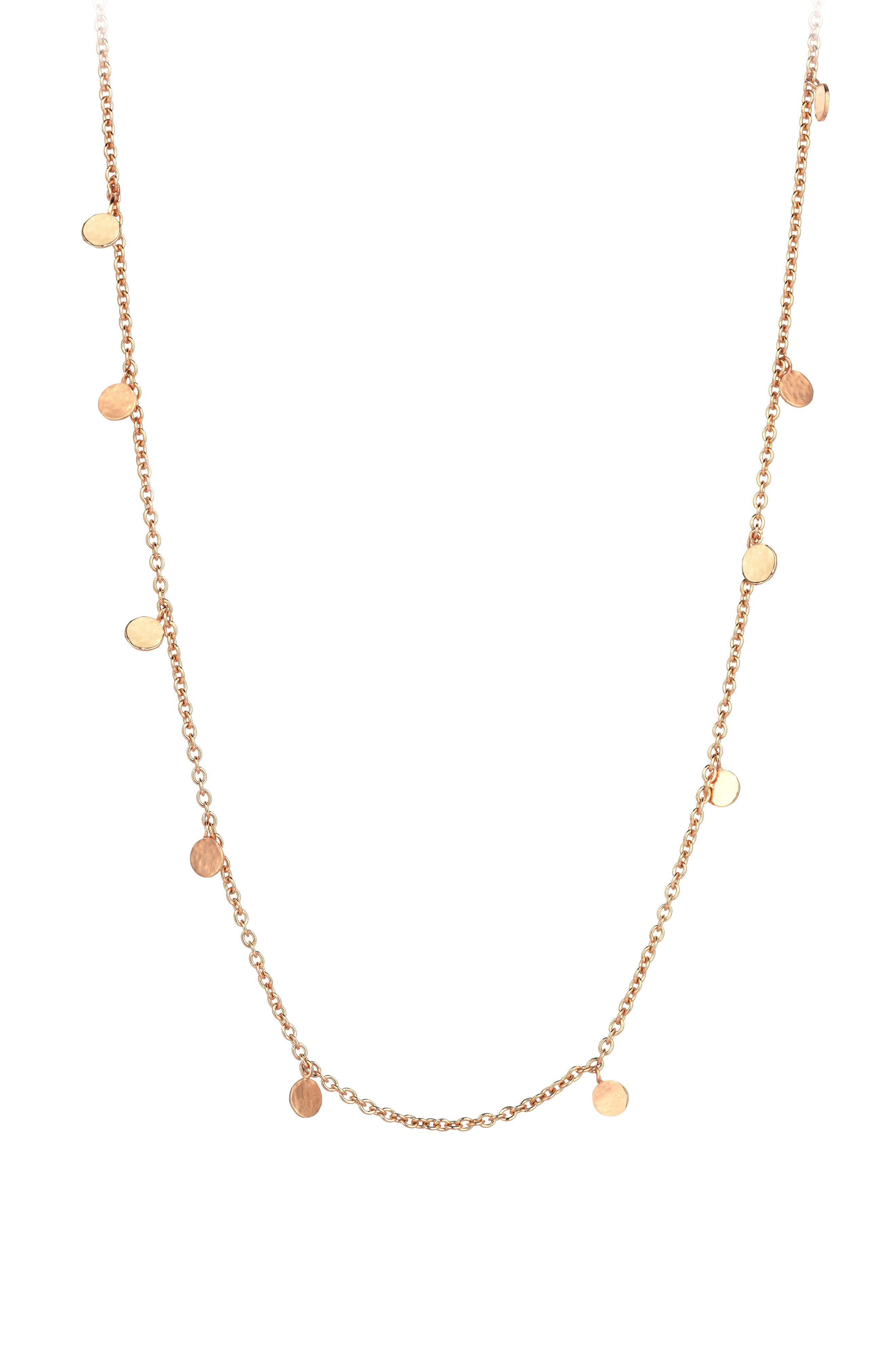 Dangle Charm Necklace,                         Main,                         color, Rose Gold