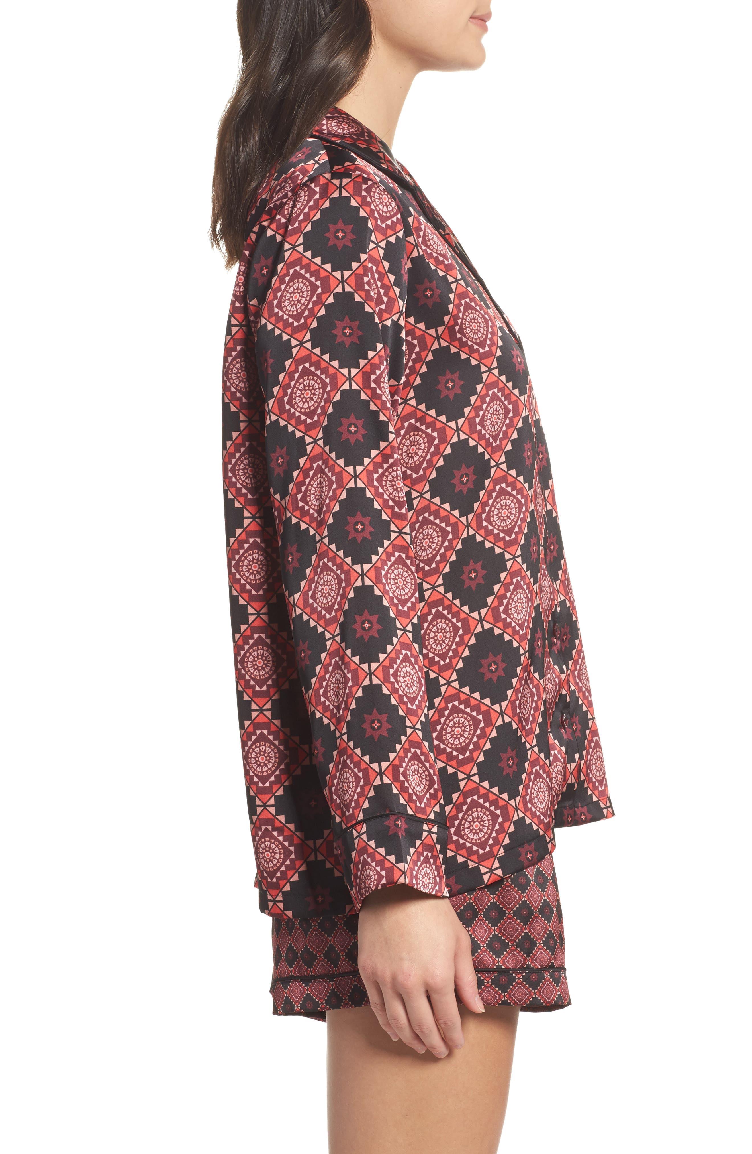 Short Pajamas & Eye Mask Set,                             Alternate thumbnail 3, color,                             Large Windsor Wine Aztec