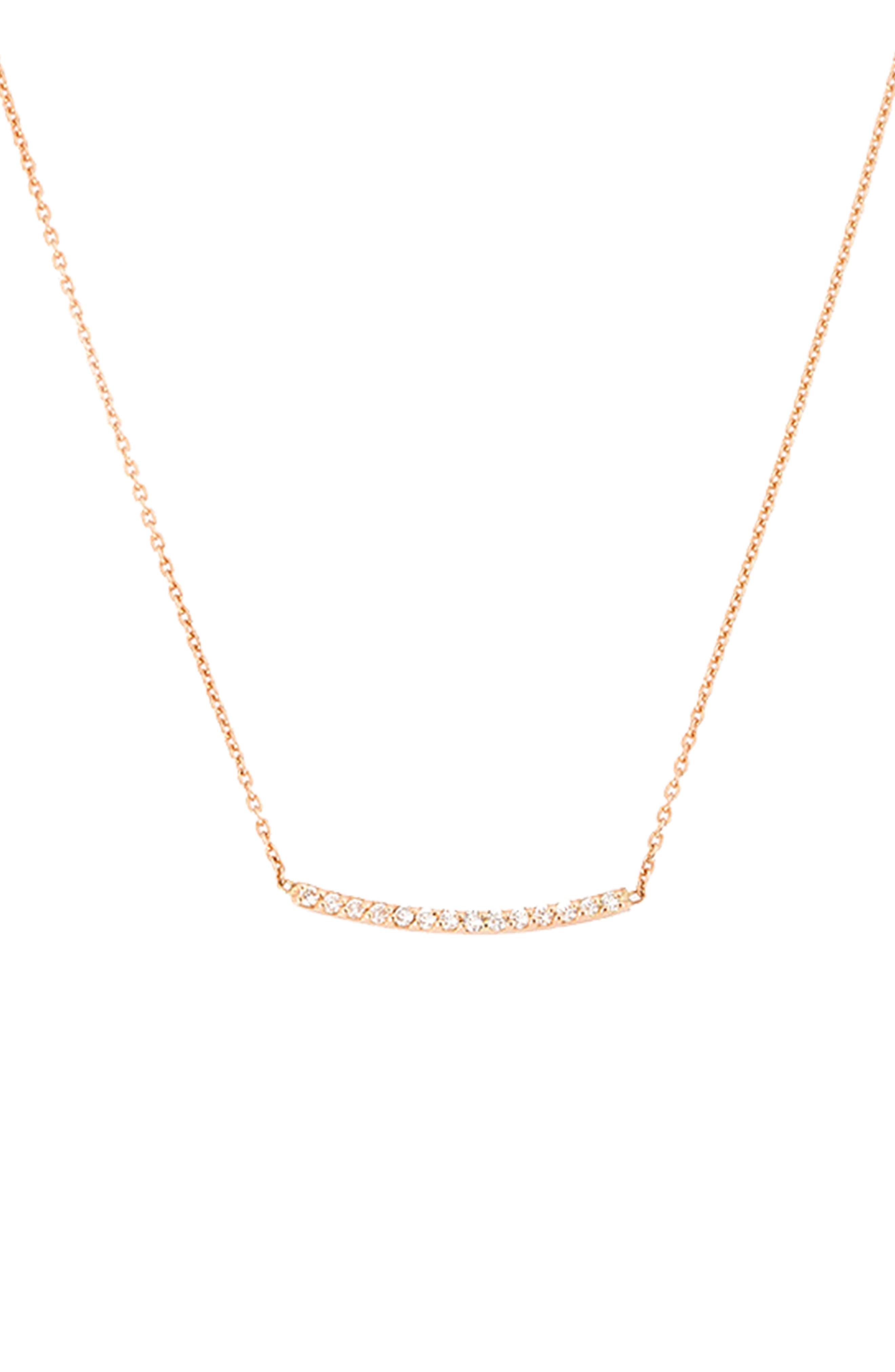 Lumiere Diamond Bar Necklace,                         Main,                         color, Rose Gold