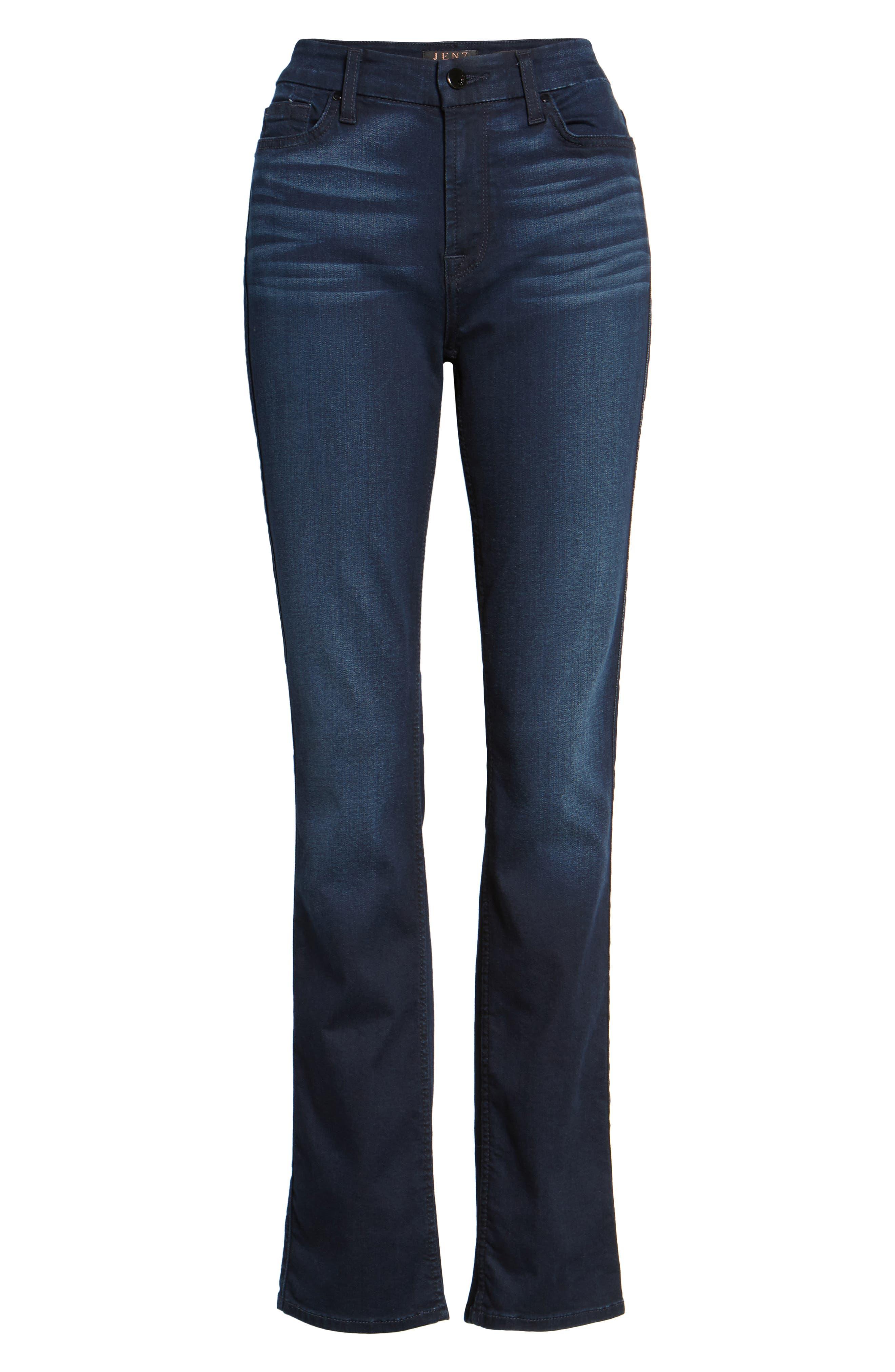 Slim Straight Jeans,                             Alternate thumbnail 6, color,                             Riche Touch Blue/ Black