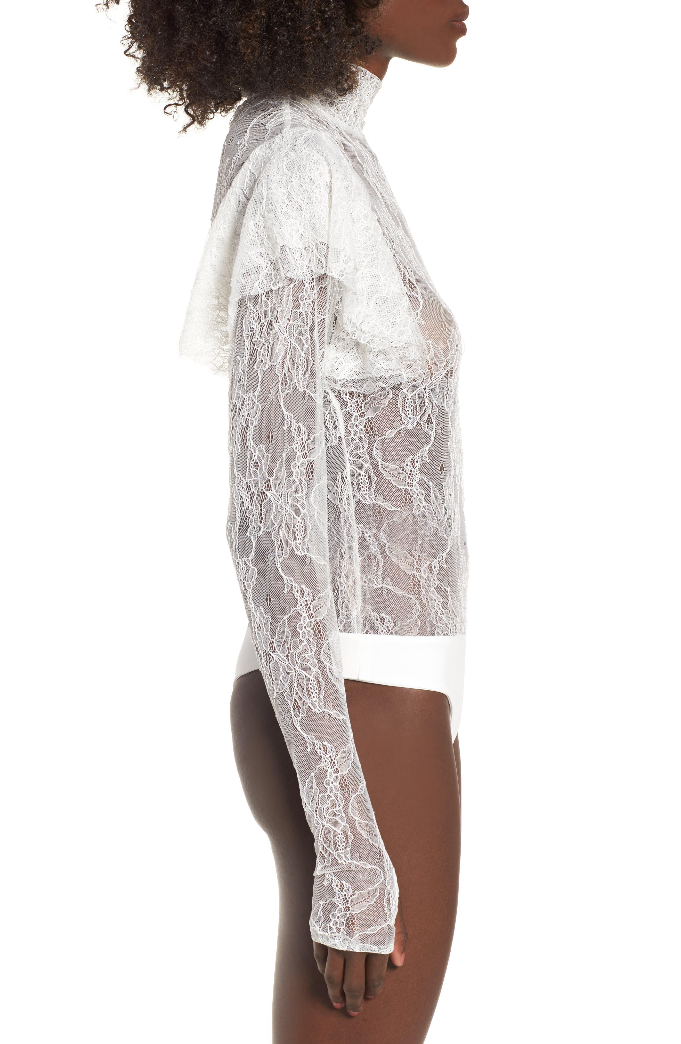Esme Ruffle Lace Bodysuit,                             Alternate thumbnail 3, color,                             Blanc