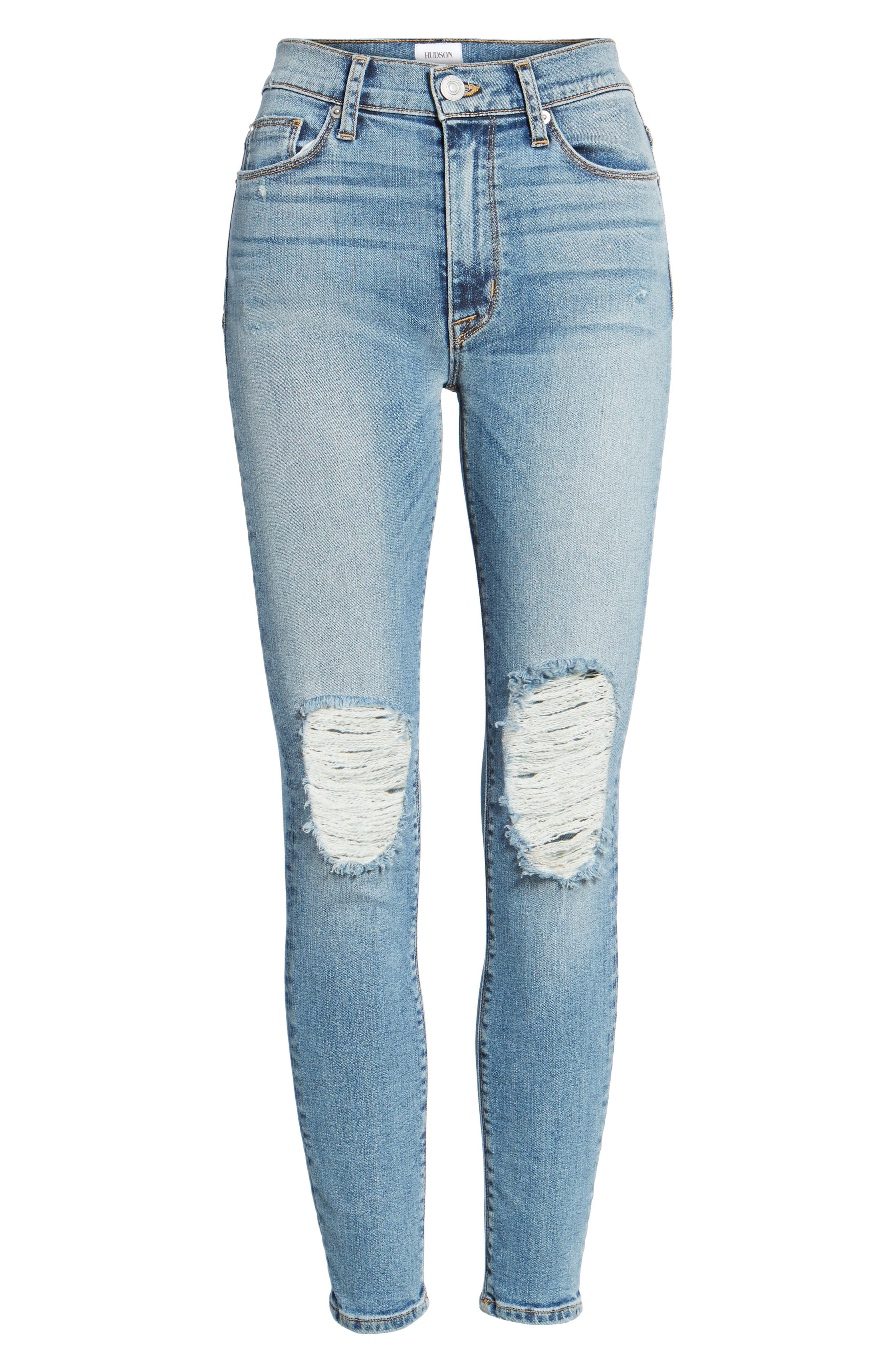 Barbara High Waist Ankle Skinny Jeans,                             Alternate thumbnail 6, color,                             Confection