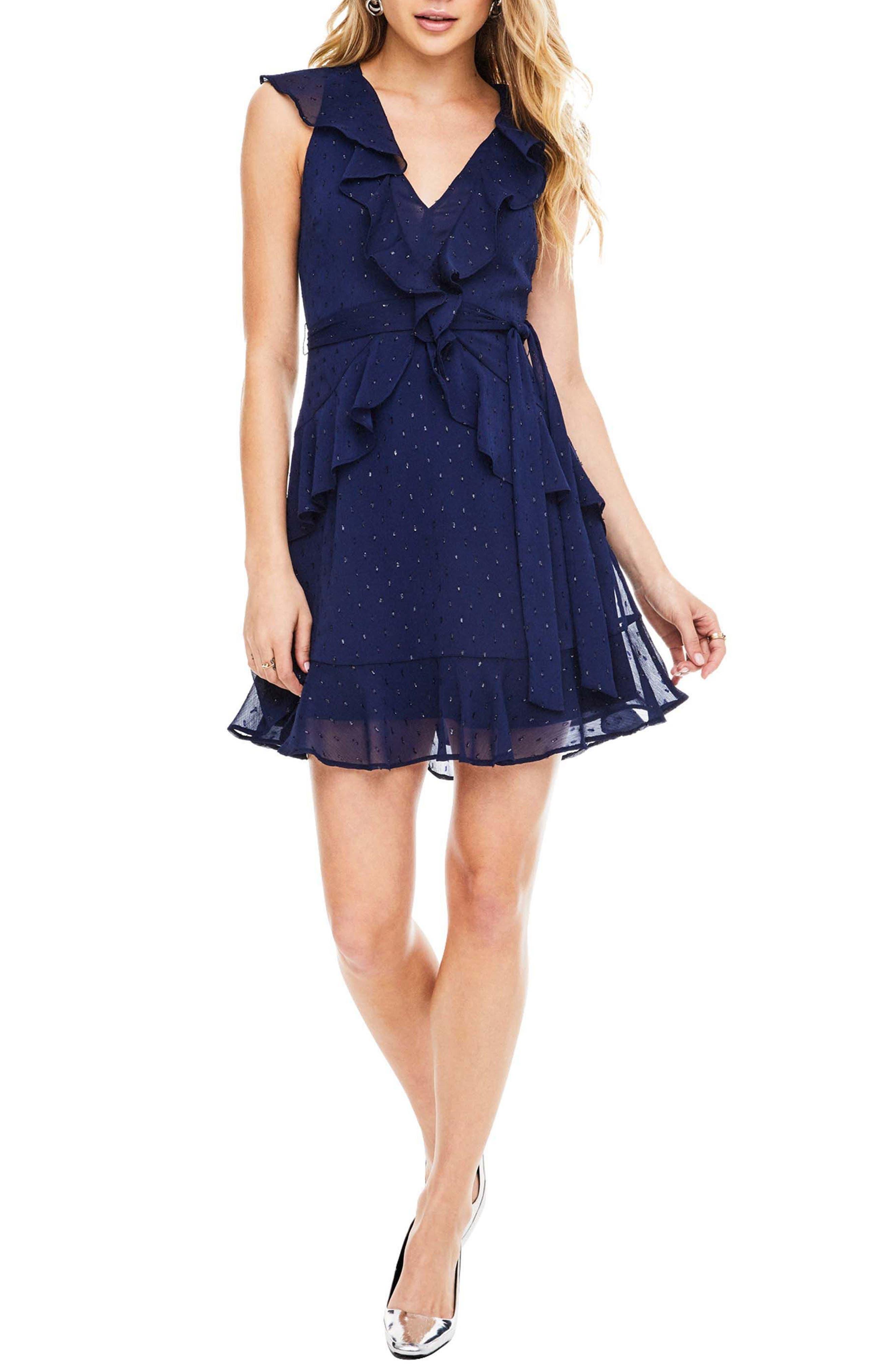 Brynn Fit & Flare Dress,                             Main thumbnail 1, color,                             Navy Sparkle