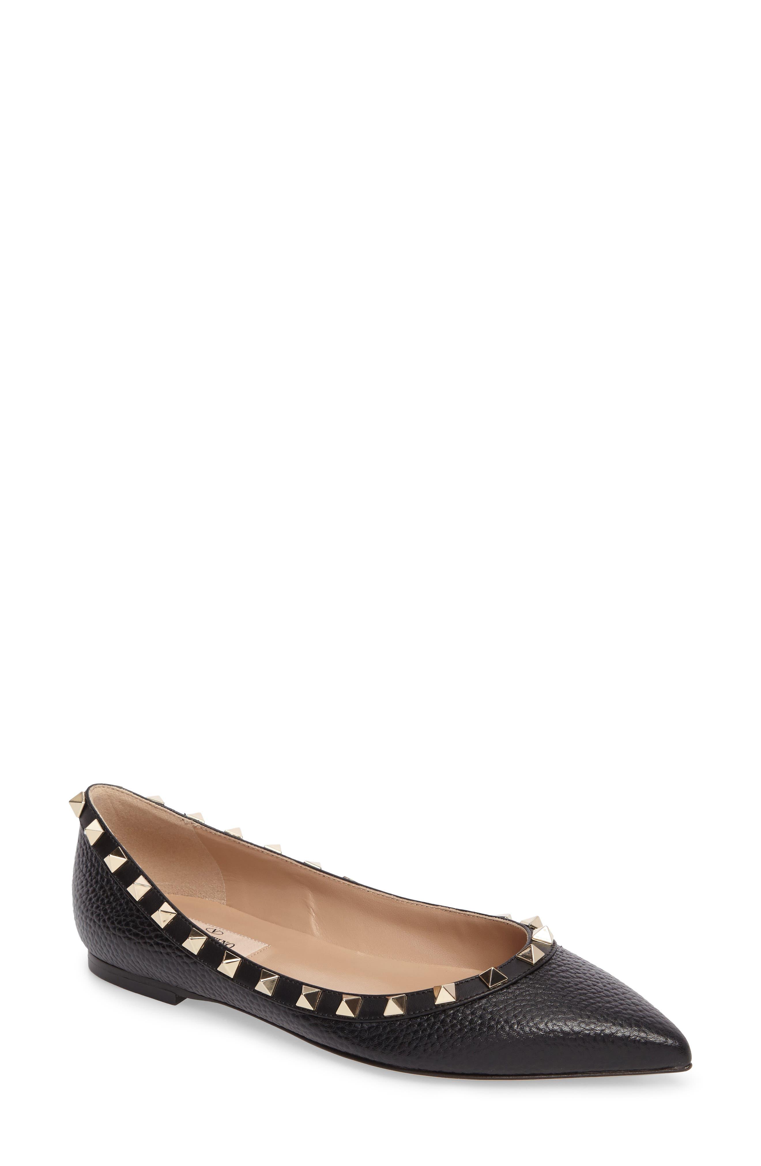 VALENTINO GARAVANI Rockstud Pointy Toe Flat (Women)