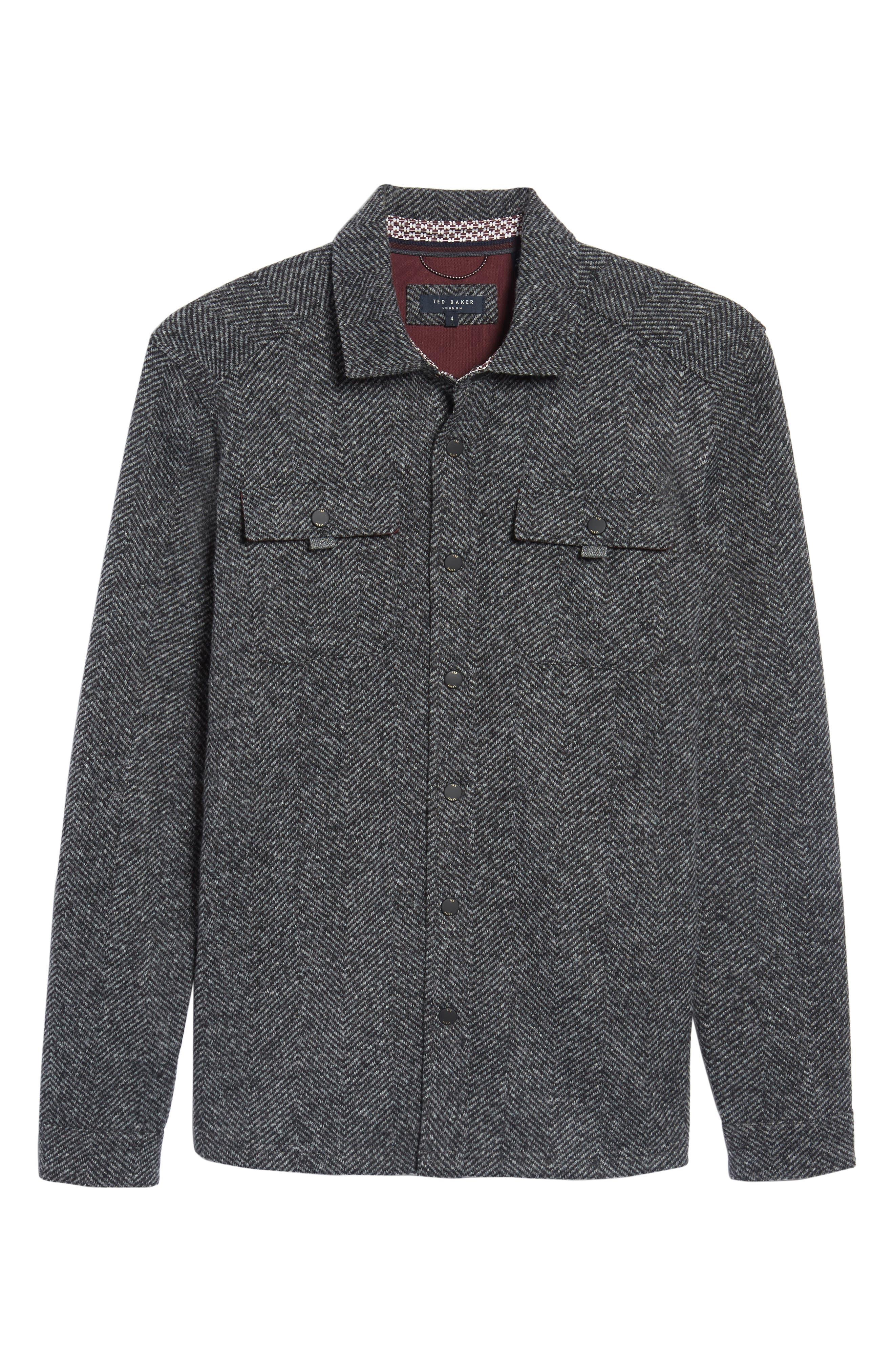 Alternate Image 7  - Ted Baker London Chelts Slim Fit Herringbone Overshirt