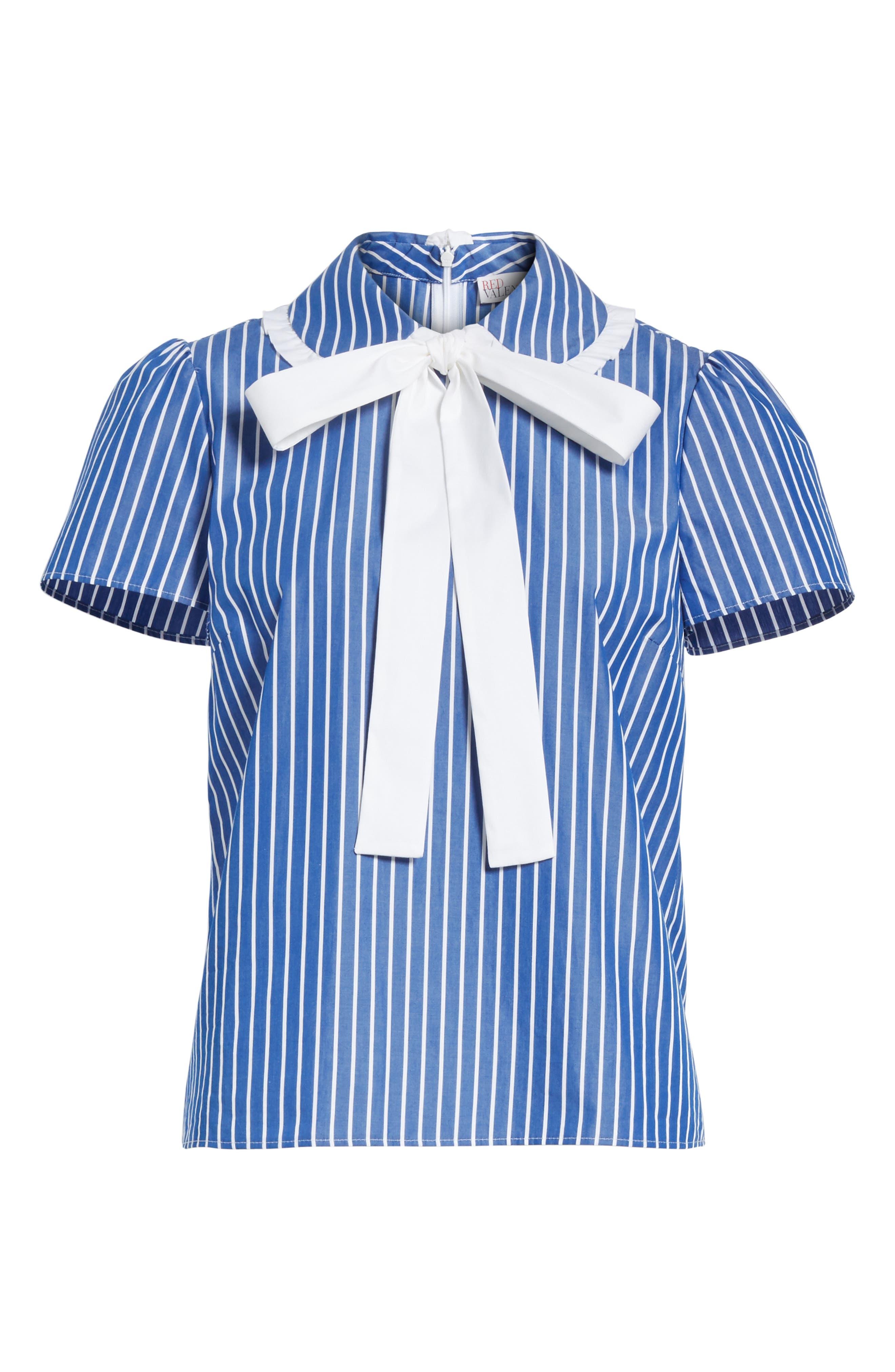 Tie Neck Stripe Cotton Poplin Top,                             Alternate thumbnail 6, color,                             Navy