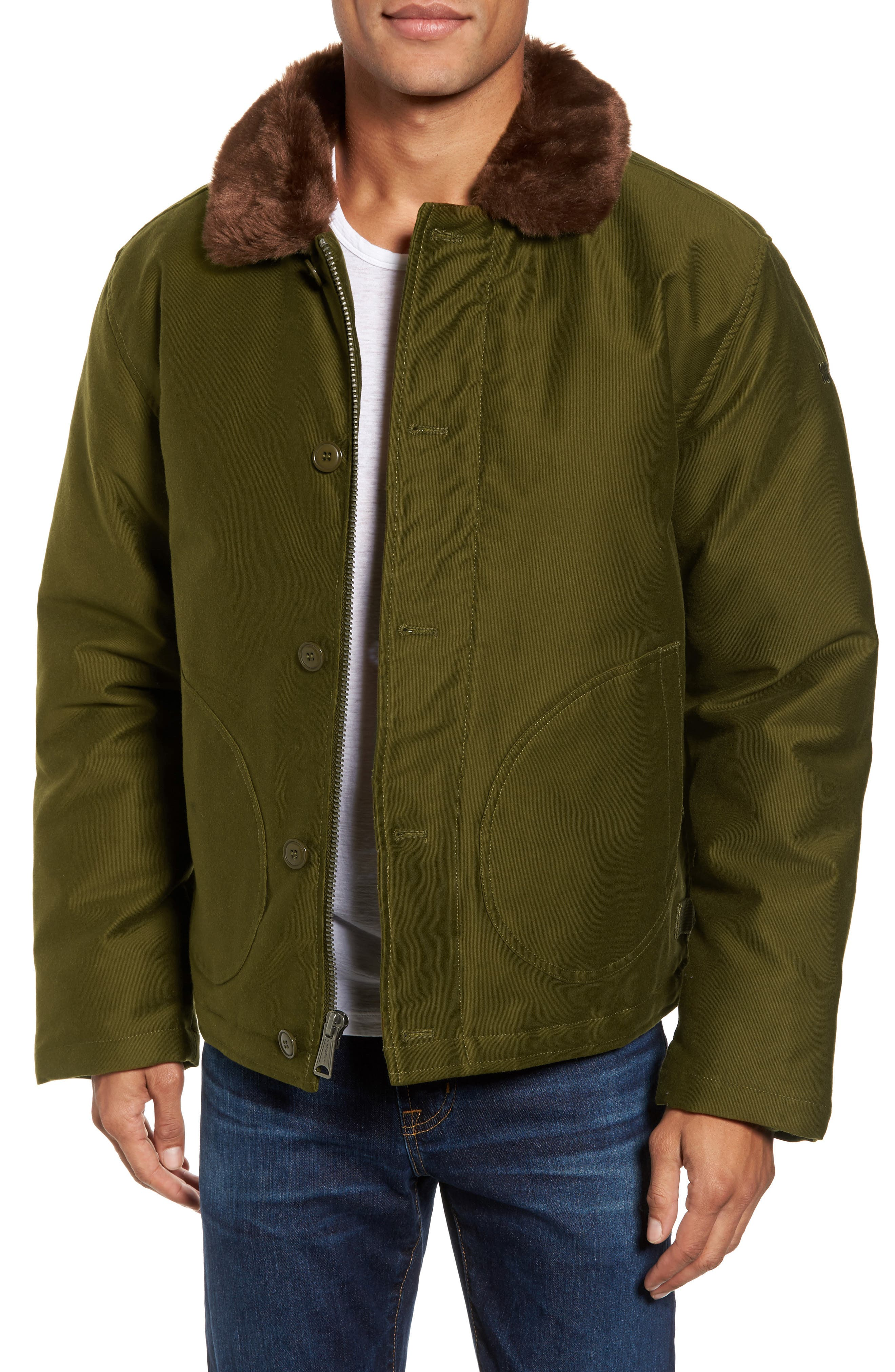Faux Fur Collar Water-Repellent Corduroy Down Jacket,                         Main,                         color, Olive