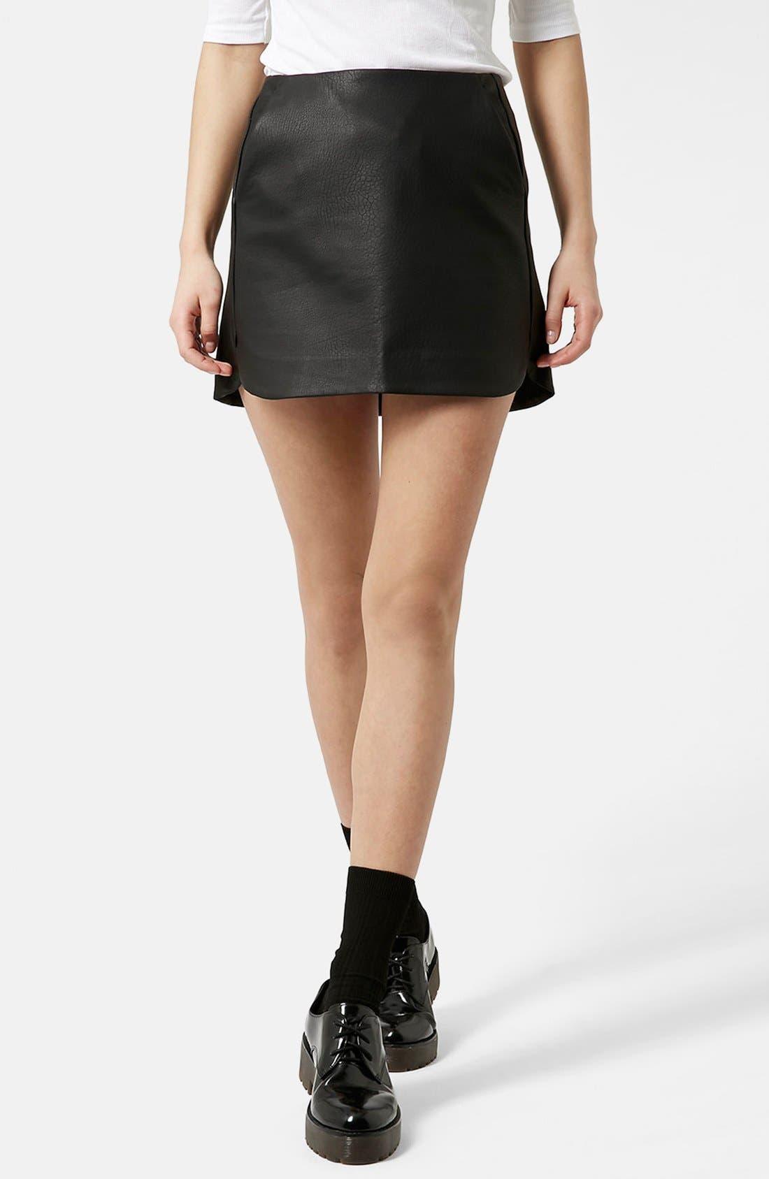 Main Image - Topshop Curved Hem Faux Leather Miniskirt