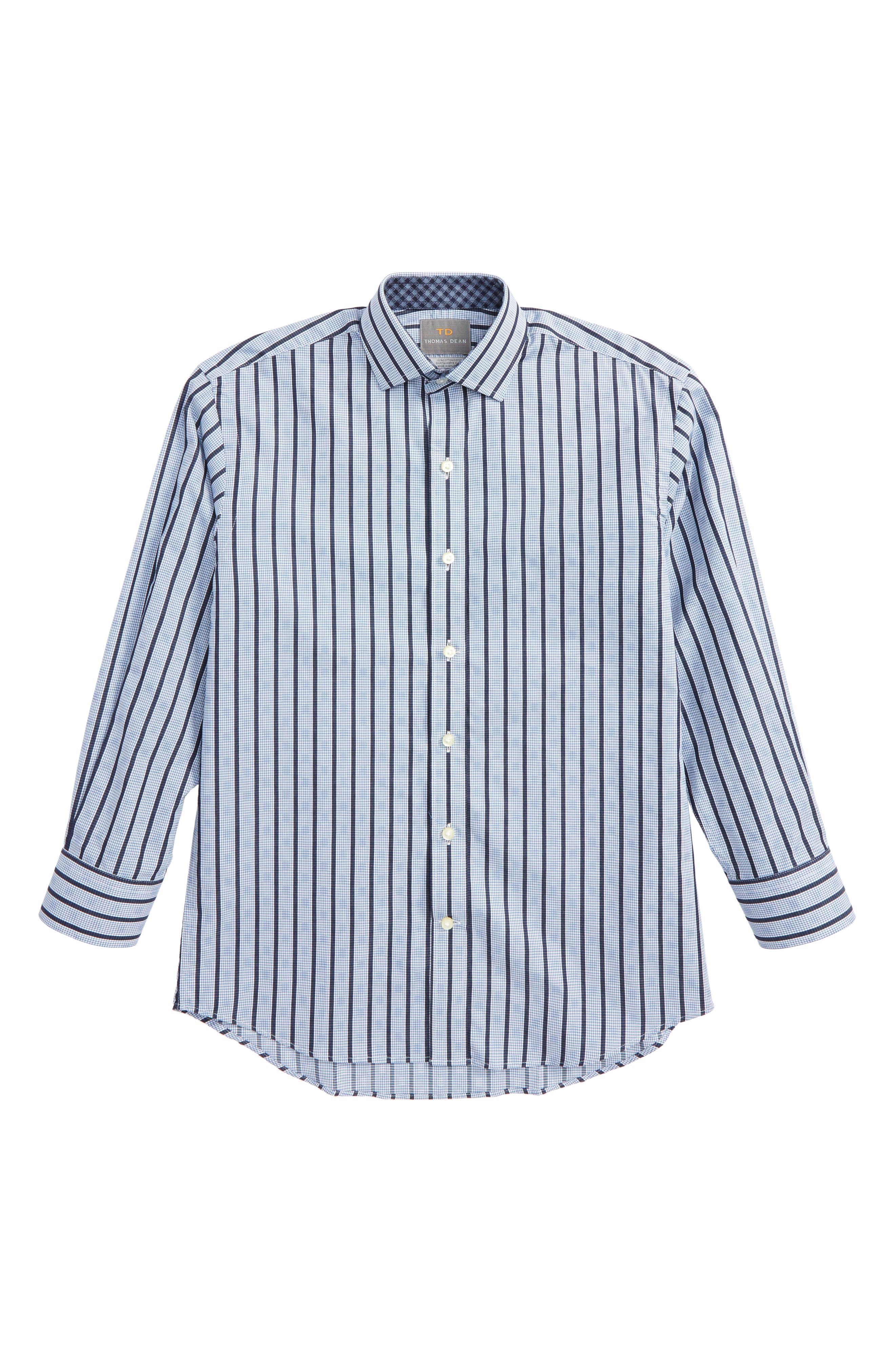 Thomas Dean Stripe & Check Dress Shirt (Big Boys)
