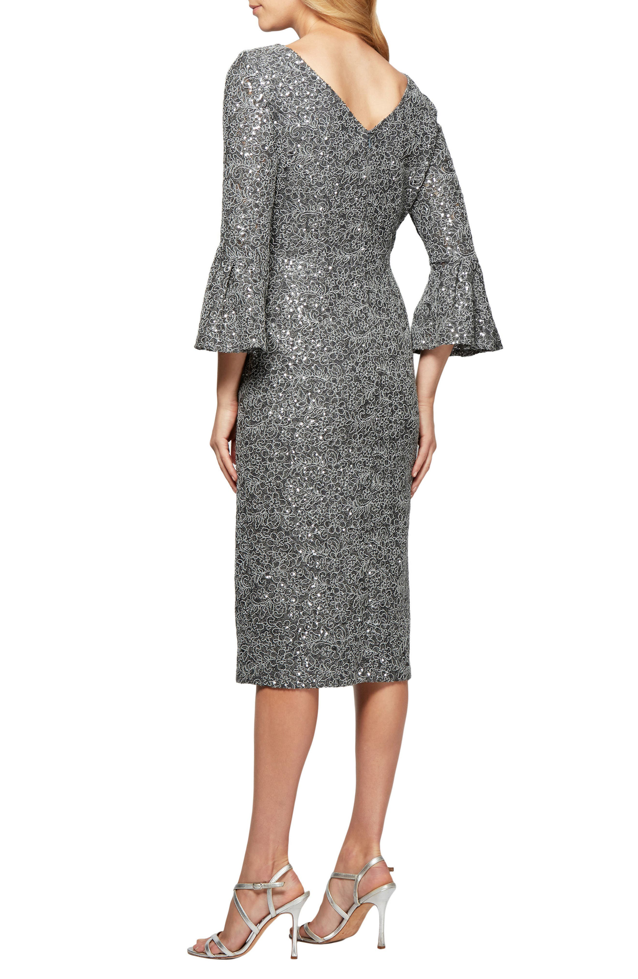 Embroidered Lace Shift Dress,                             Alternate thumbnail 2, color,                             Gunmetal