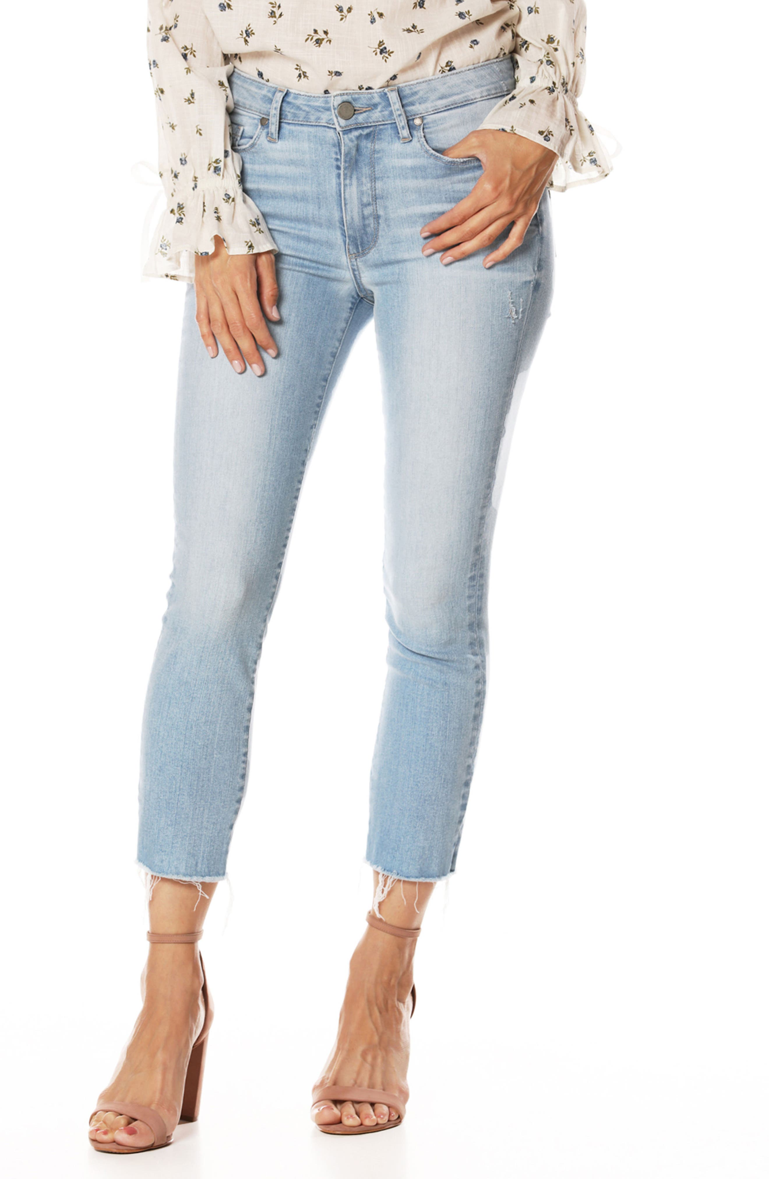 Hoxton High Waist Ankle Straight Leg Jeans,                         Main,                         color, Lumina