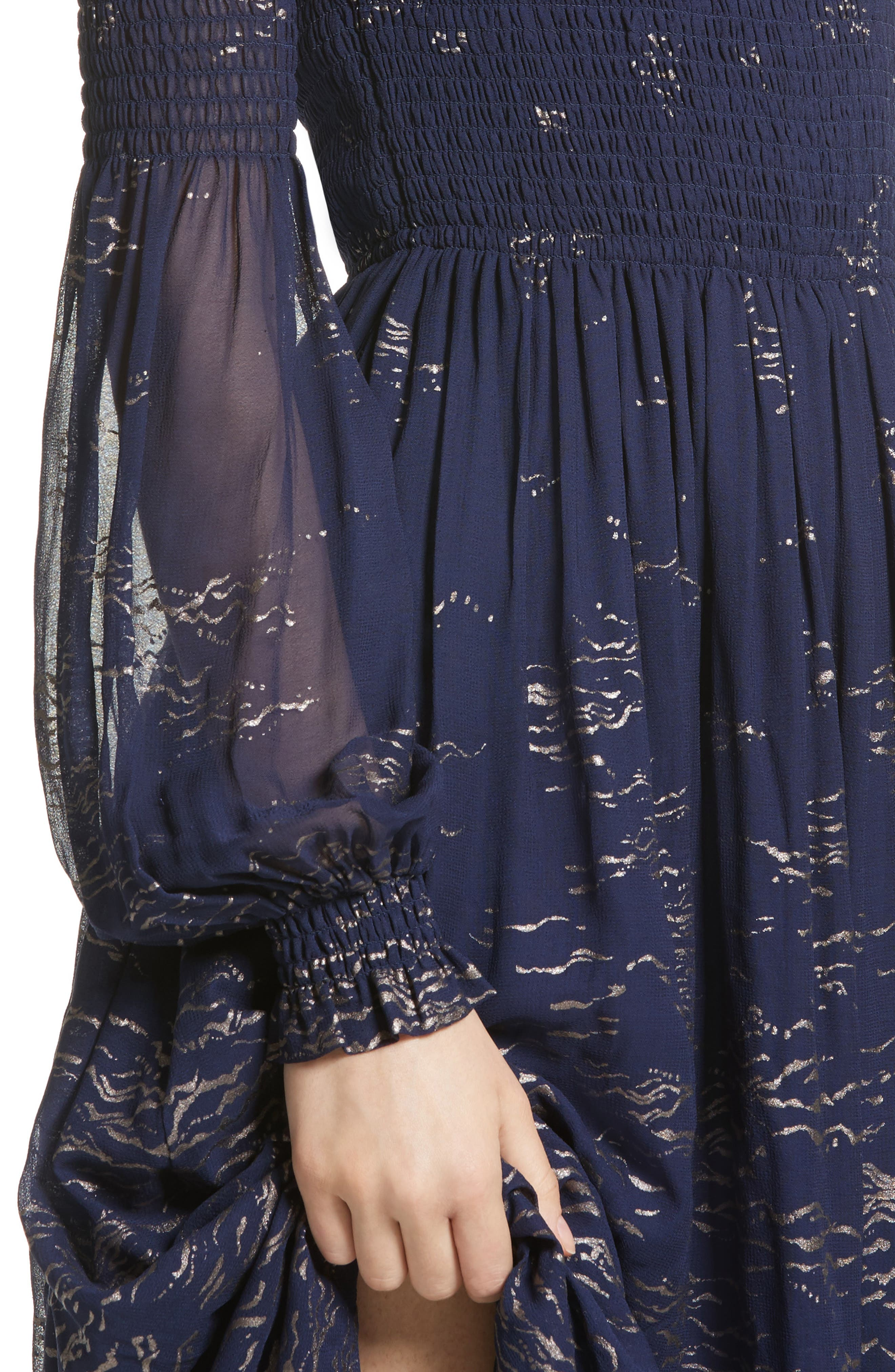 Foiled Smocked Midi Dress,                             Alternate thumbnail 4, color,                             Blue Combo