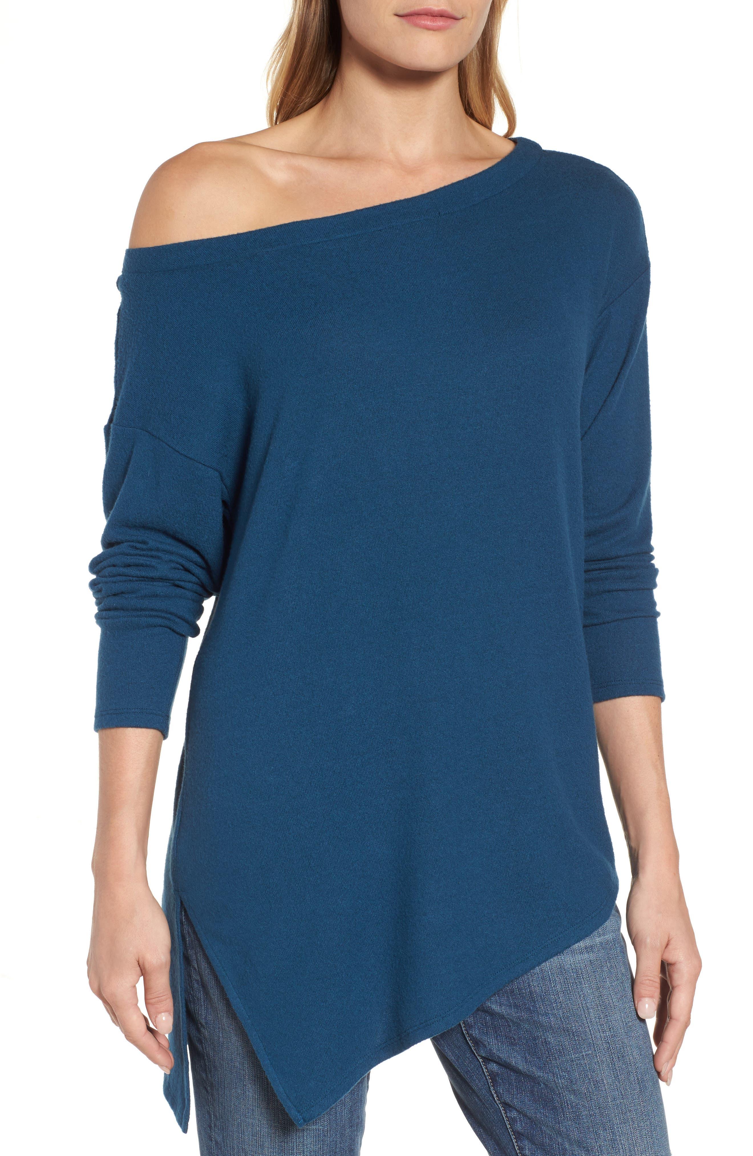 Asymmetrical Cozy Fleece Convertible Top,                             Alternate thumbnail 4, color,                             Blue Ceramic