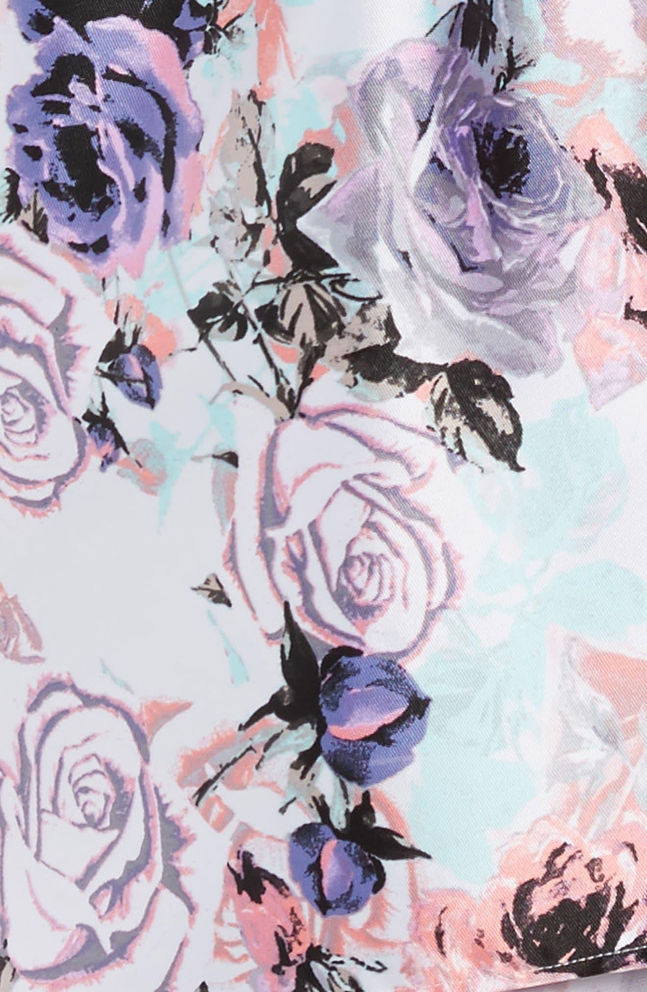 Floral Print Party Dress,                             Alternate thumbnail 4, color,                             Lilac/ Blush