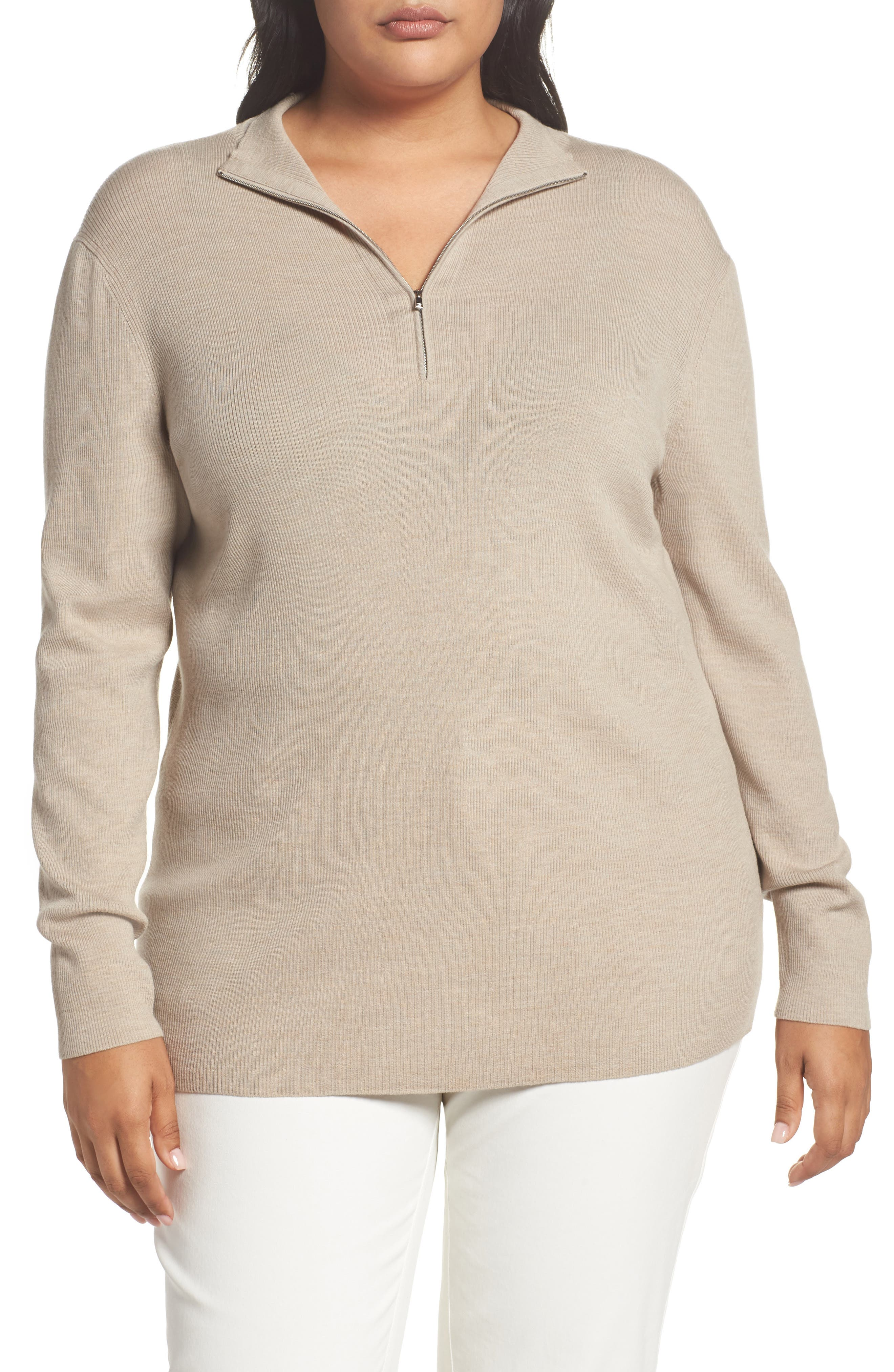Main Image - Lafayette 148 New York Skinny Ribbed Pullover (Plus Size)